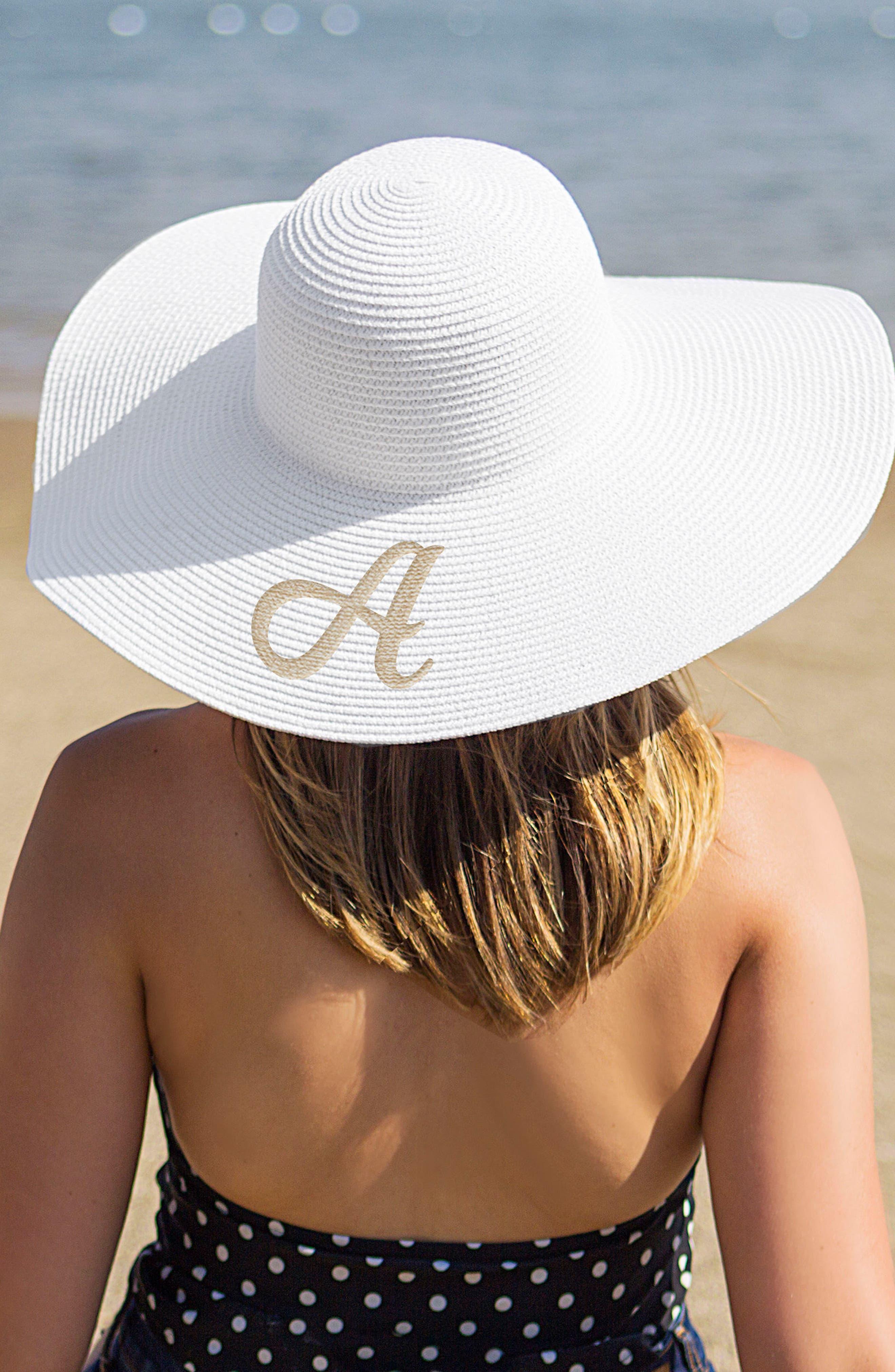 Monogram Straw Sun Hat,                             Alternate thumbnail 3, color,                             100