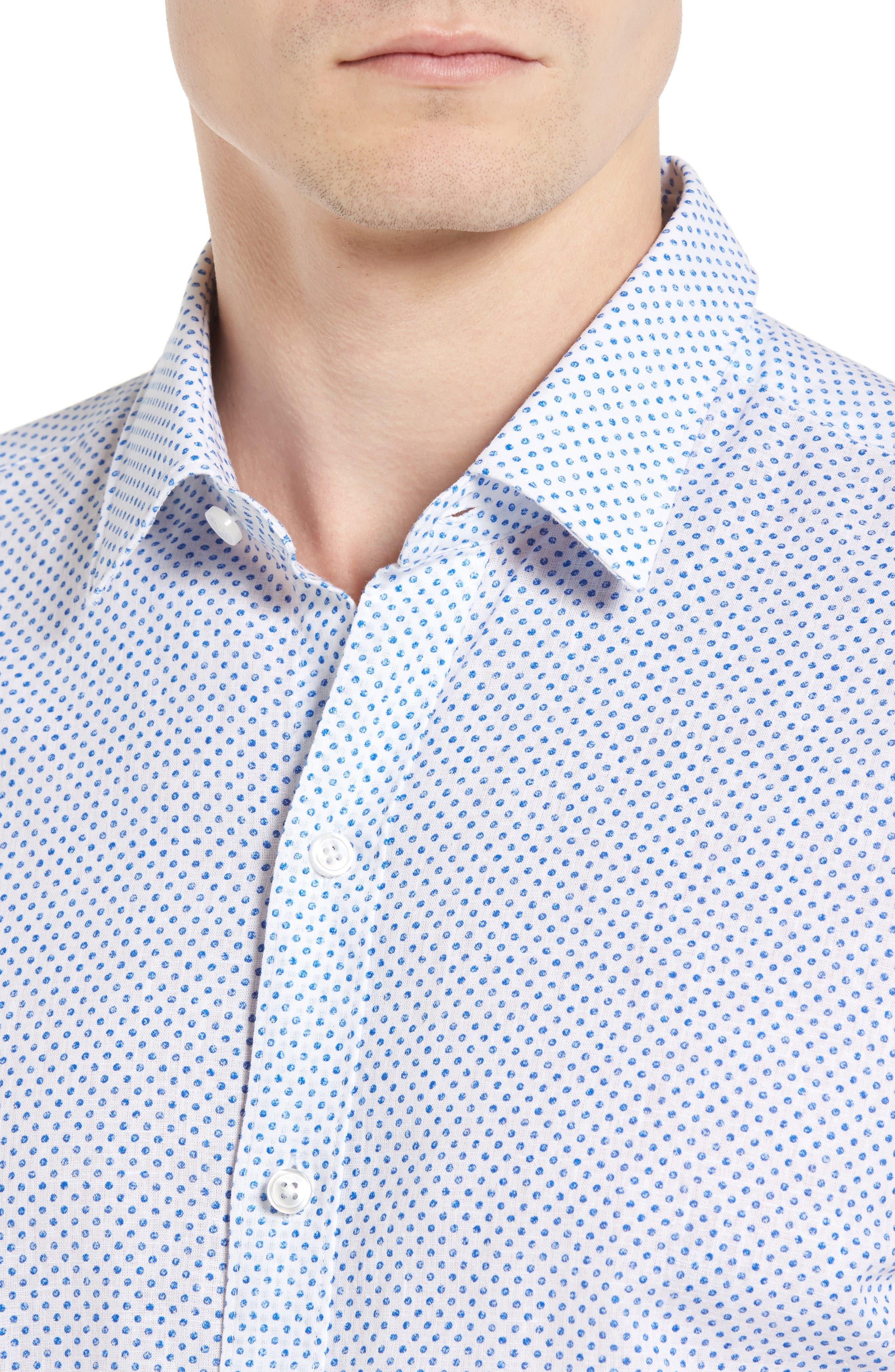 Robbie Slim Fit Dot Print Sport Shirt,                             Alternate thumbnail 4, color,