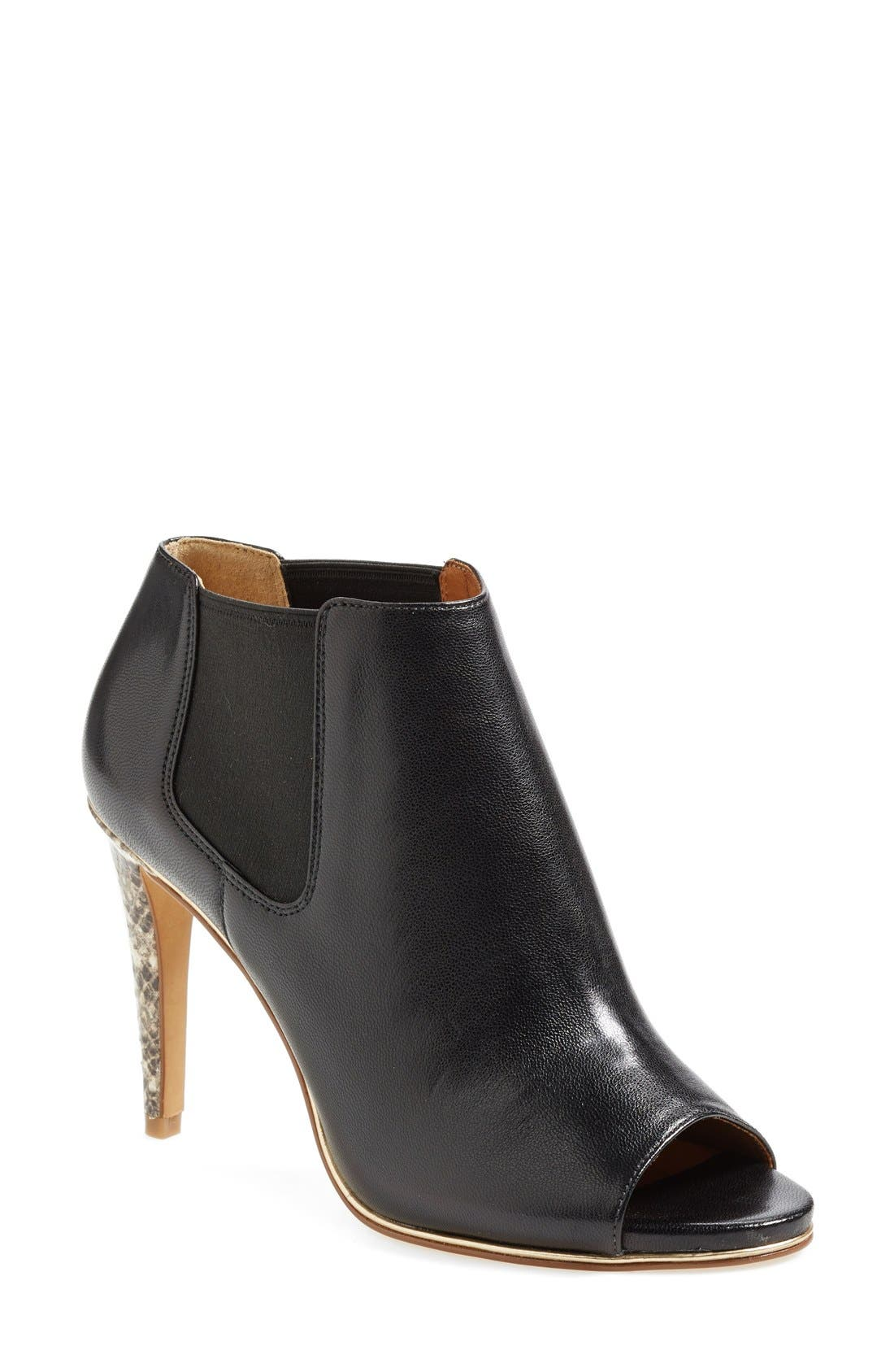 'Adrianna' Leather Peeptoe Bootie,                             Main thumbnail 1, color,                             015