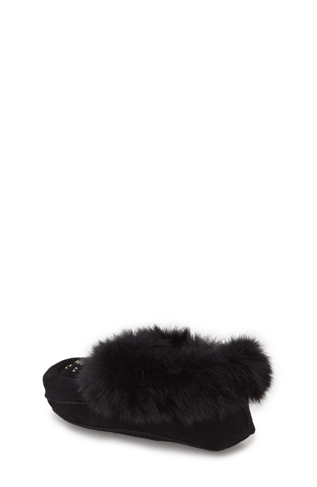 Genuine Rabbit Fur Moccasin,                             Alternate thumbnail 3, color,                             BLACK SUEDE