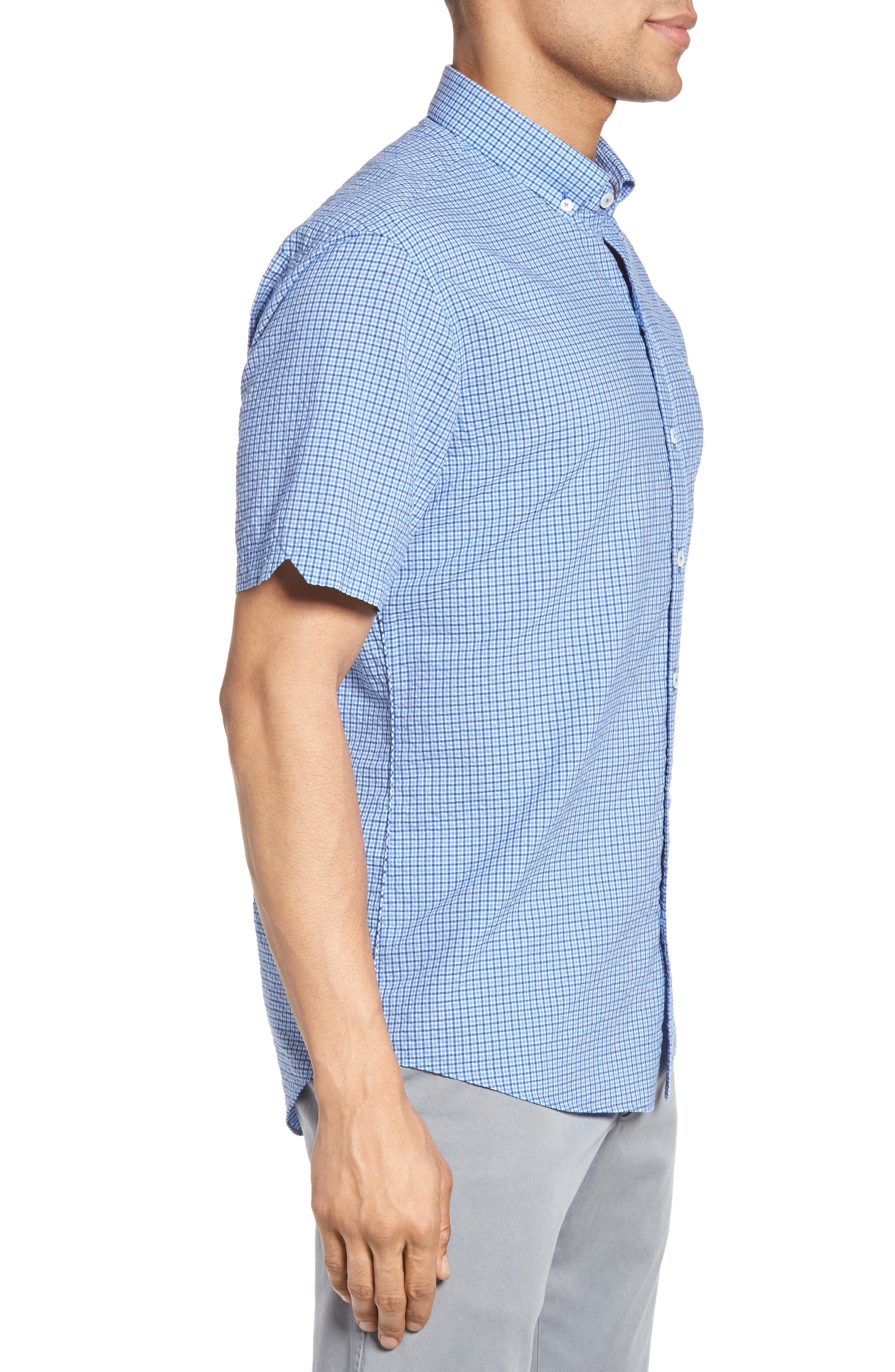 Billy Trim Fit Plaid Sport Shirt,                             Alternate thumbnail 3, color,                             422