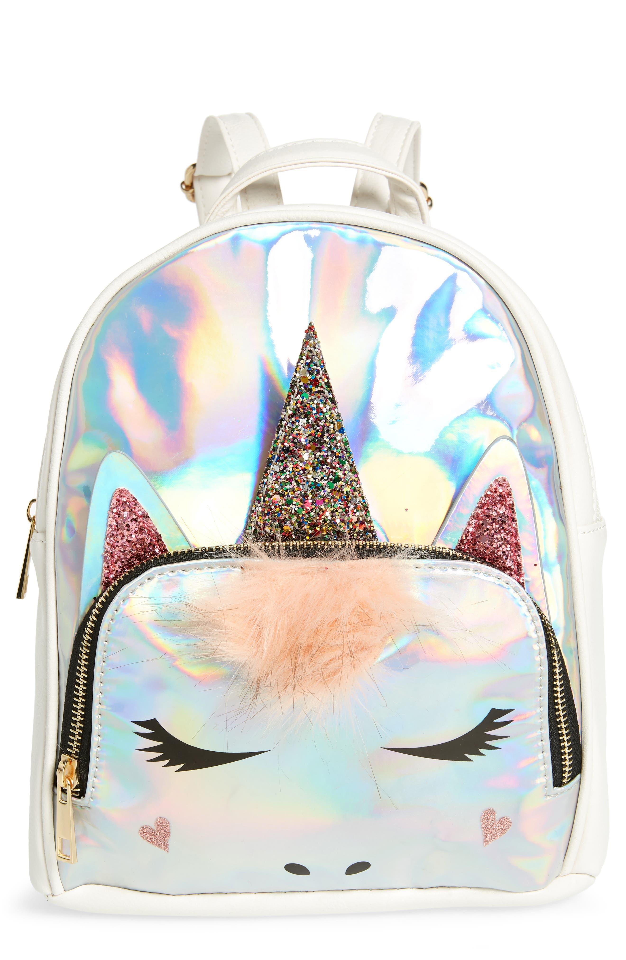 Mini Hologram Unicorn Backpack,                             Main thumbnail 1, color,                             SILVER