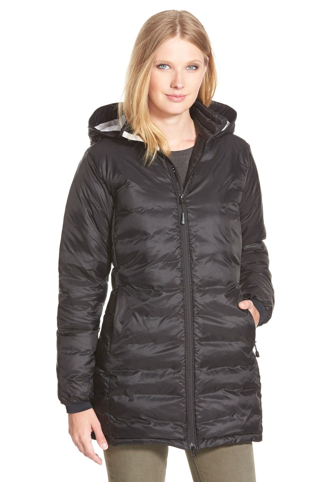 'Camp' Slim Fit Hooded Packable Down Jacket,                         Main,                         color, BLACK