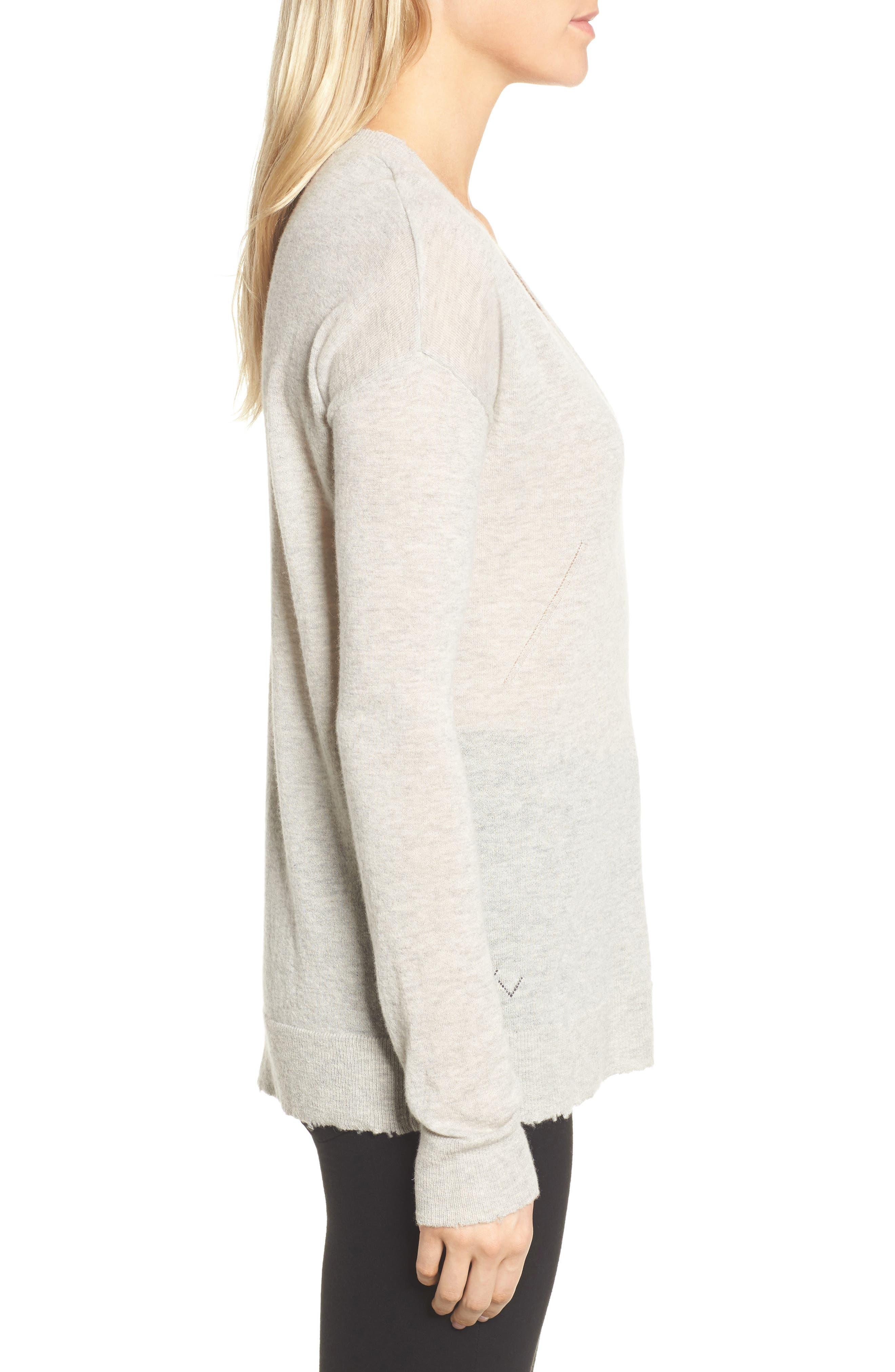 V-Neck Cashmere Sweater,                             Alternate thumbnail 3, color,                             254