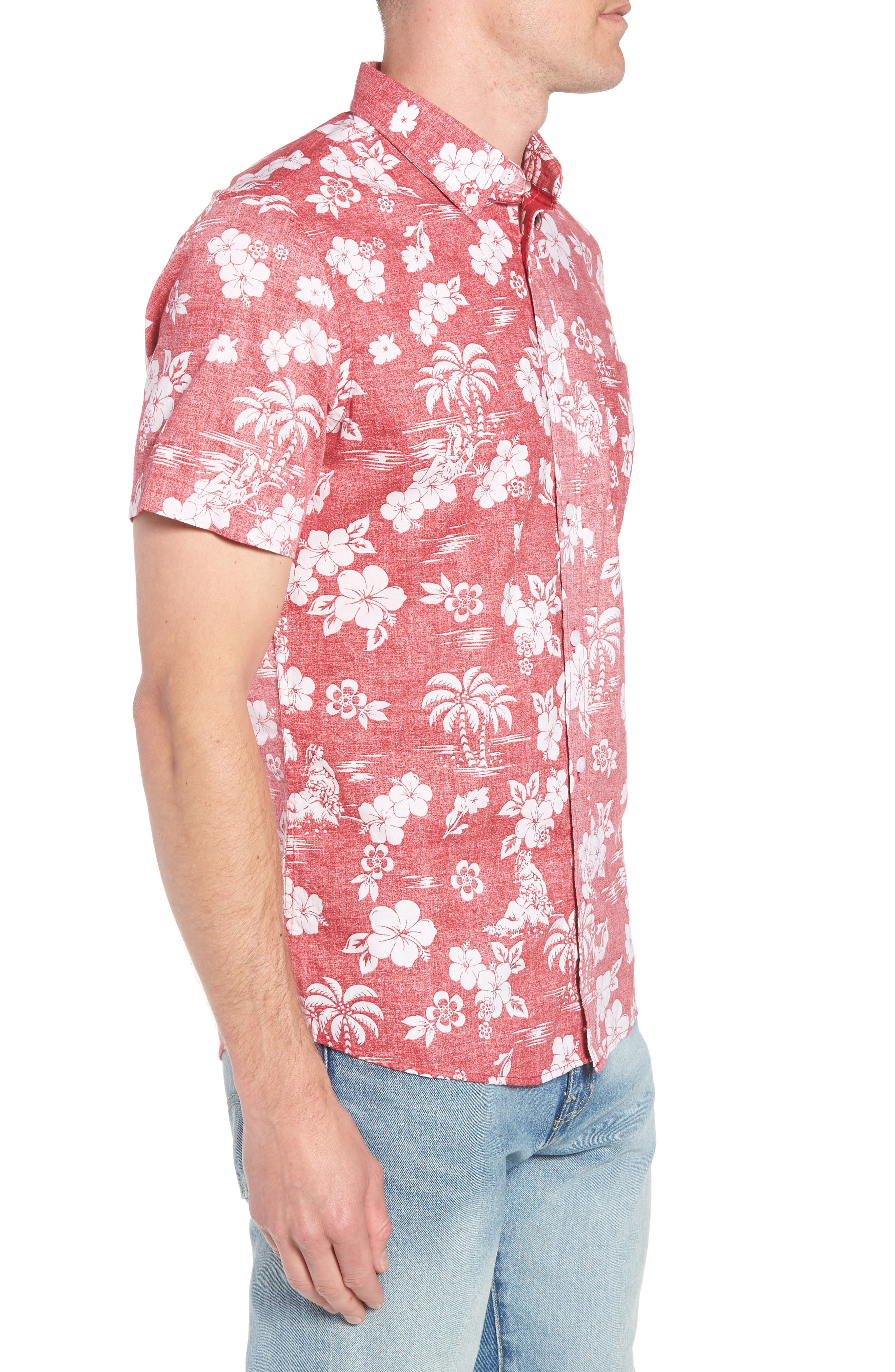 Trim Fit Island Print Sport Shirt,                             Alternate thumbnail 3, color,                             610