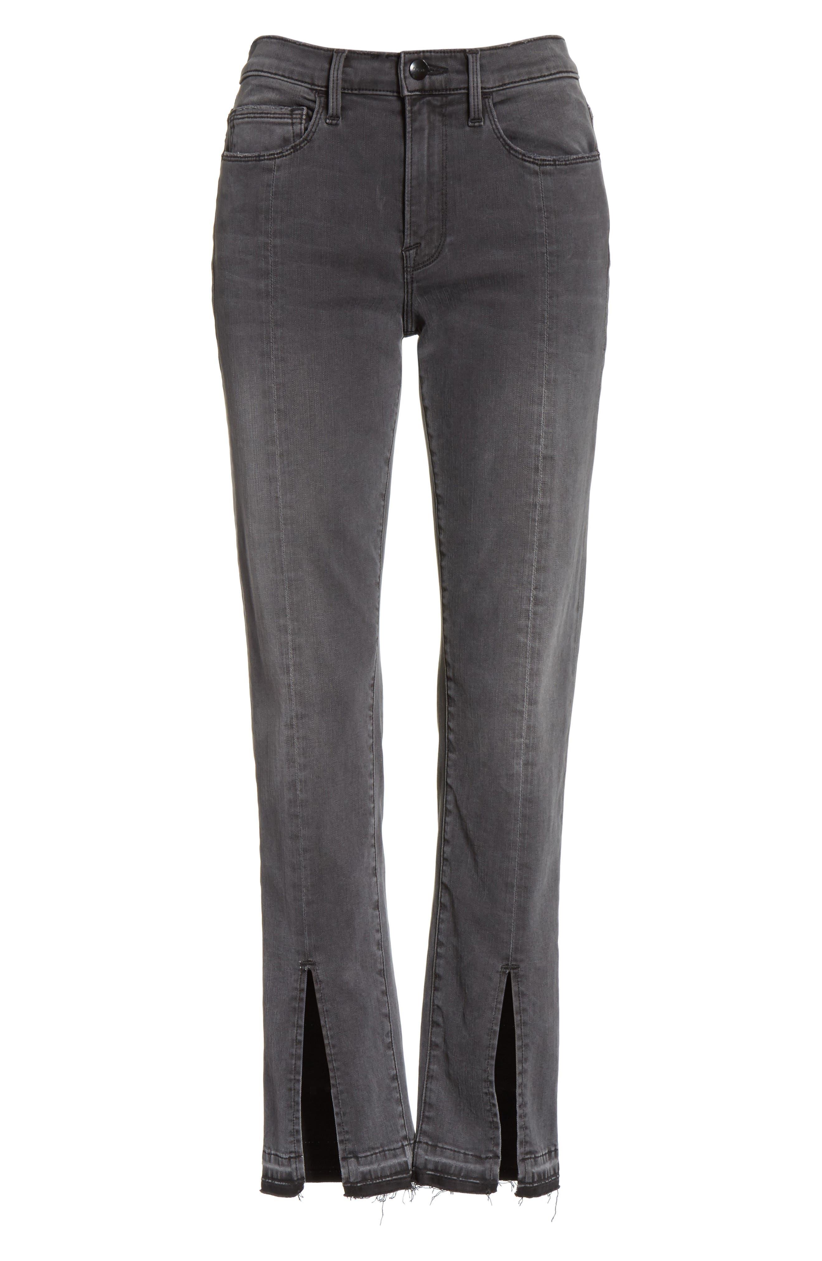 Le Nouveau Straight Split Hem Skinny Jeans,                             Alternate thumbnail 7, color,                             020