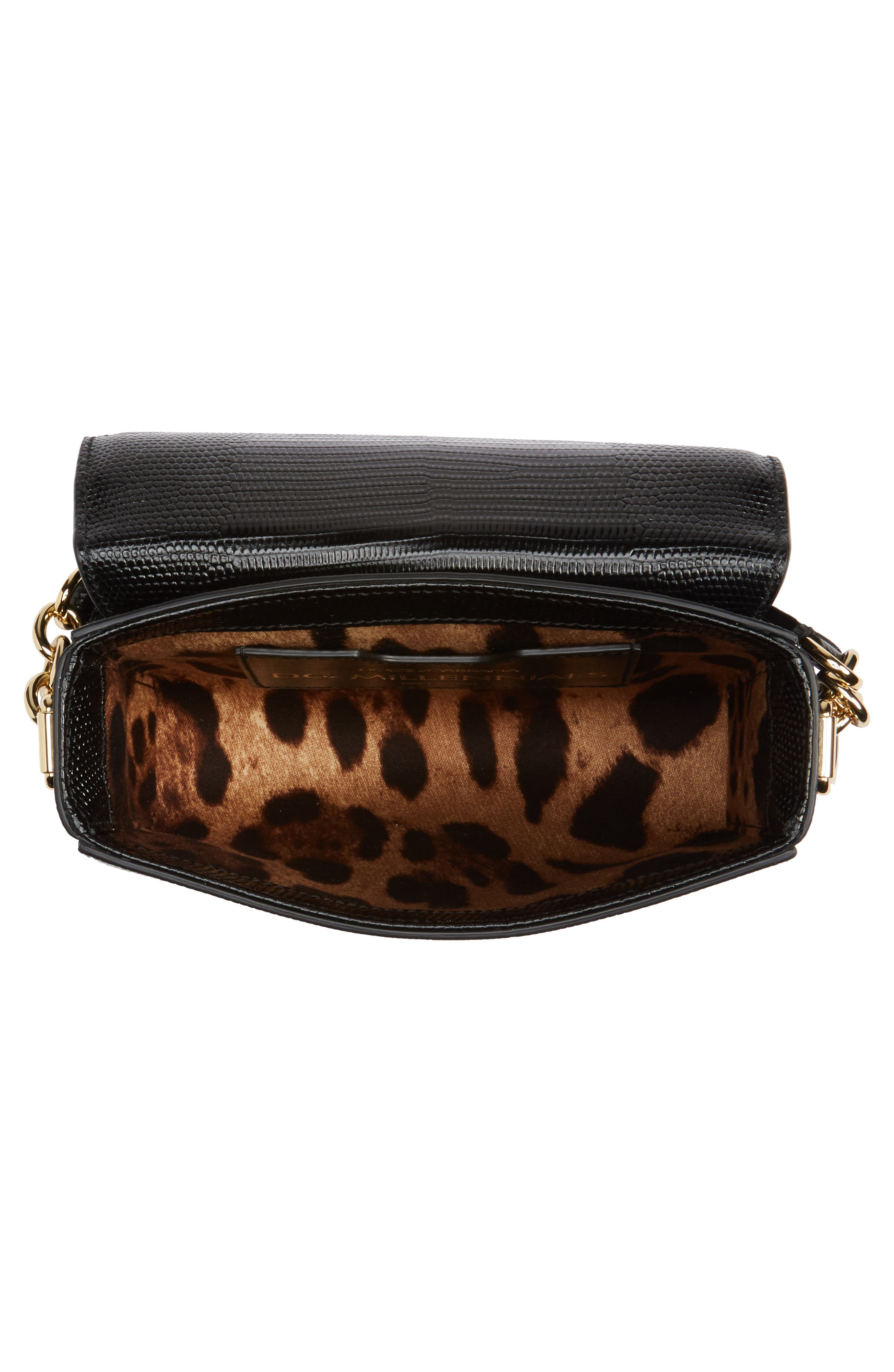 Millennial Reptile Embossed Leather Crossbody Bag,                             Alternate thumbnail 4, color,                             NERO