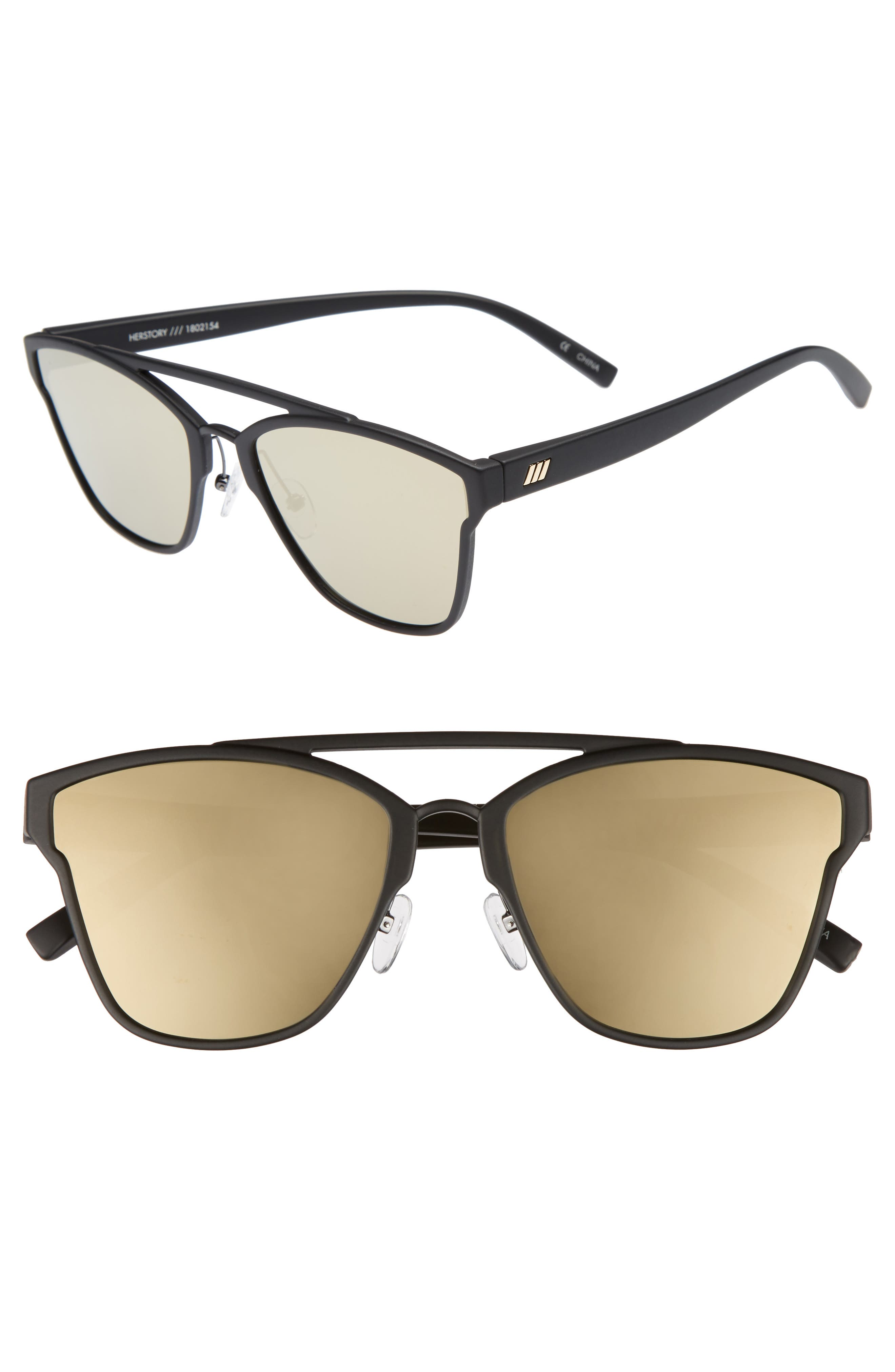 LE SPECS Herstory 55mm Aviator Sunglasses, Main, color, 001