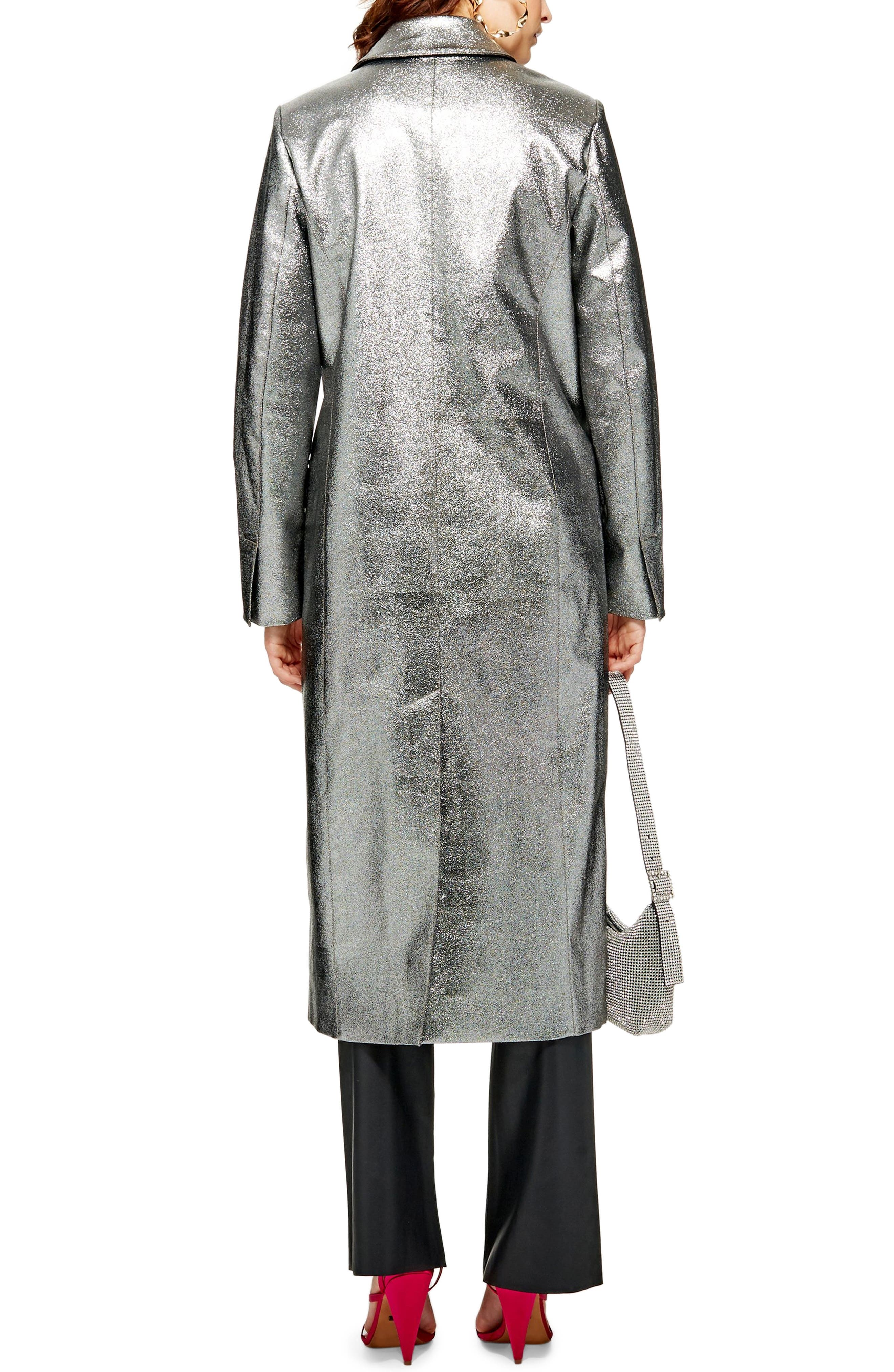 TOPSHOP,                             Twinkle Textured Coat,                             Alternate thumbnail 2, color,                             SILVER