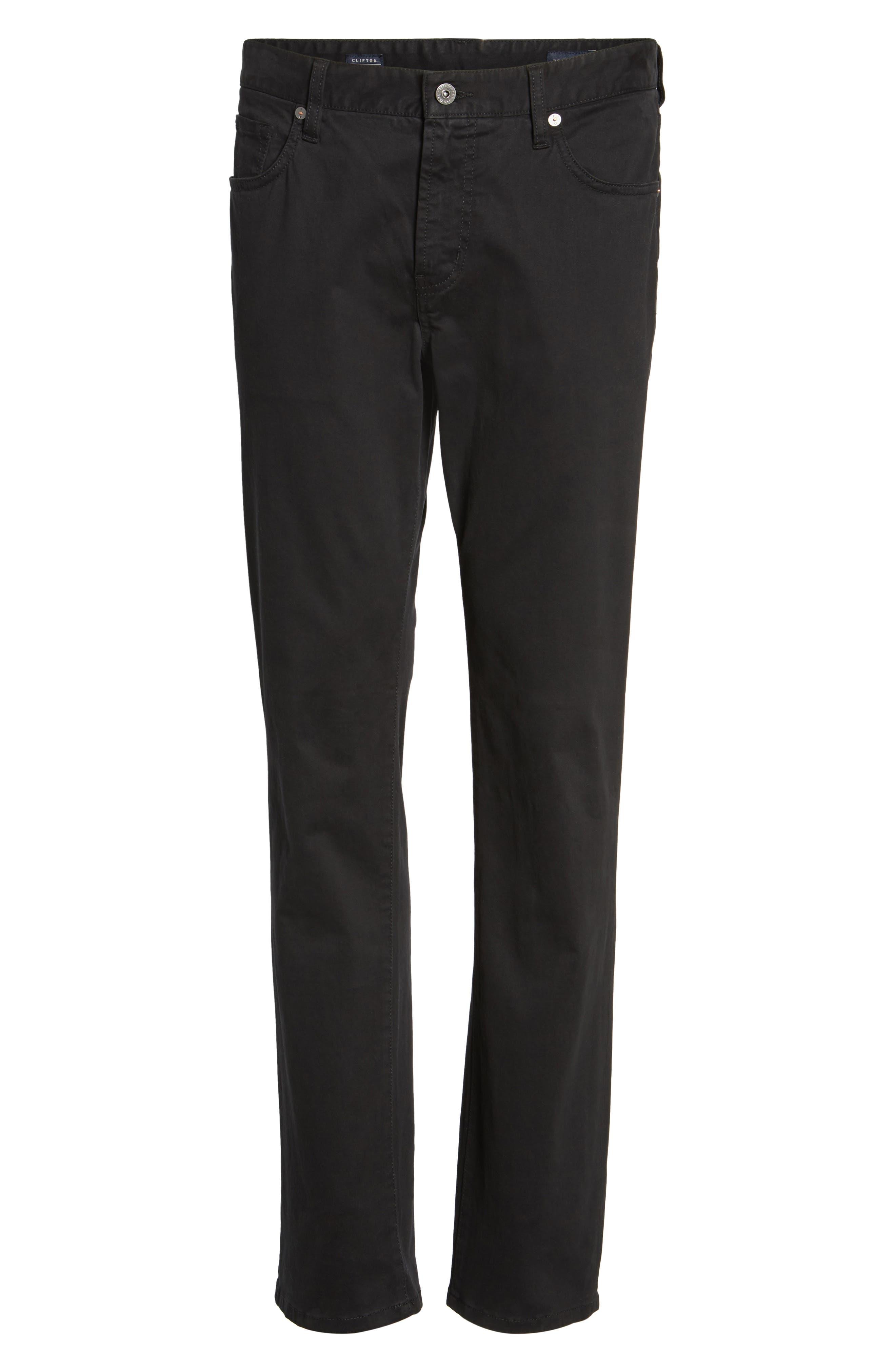 Brushed Twill Five-Pocket Pants,                             Alternate thumbnail 6, color,                             BLACK