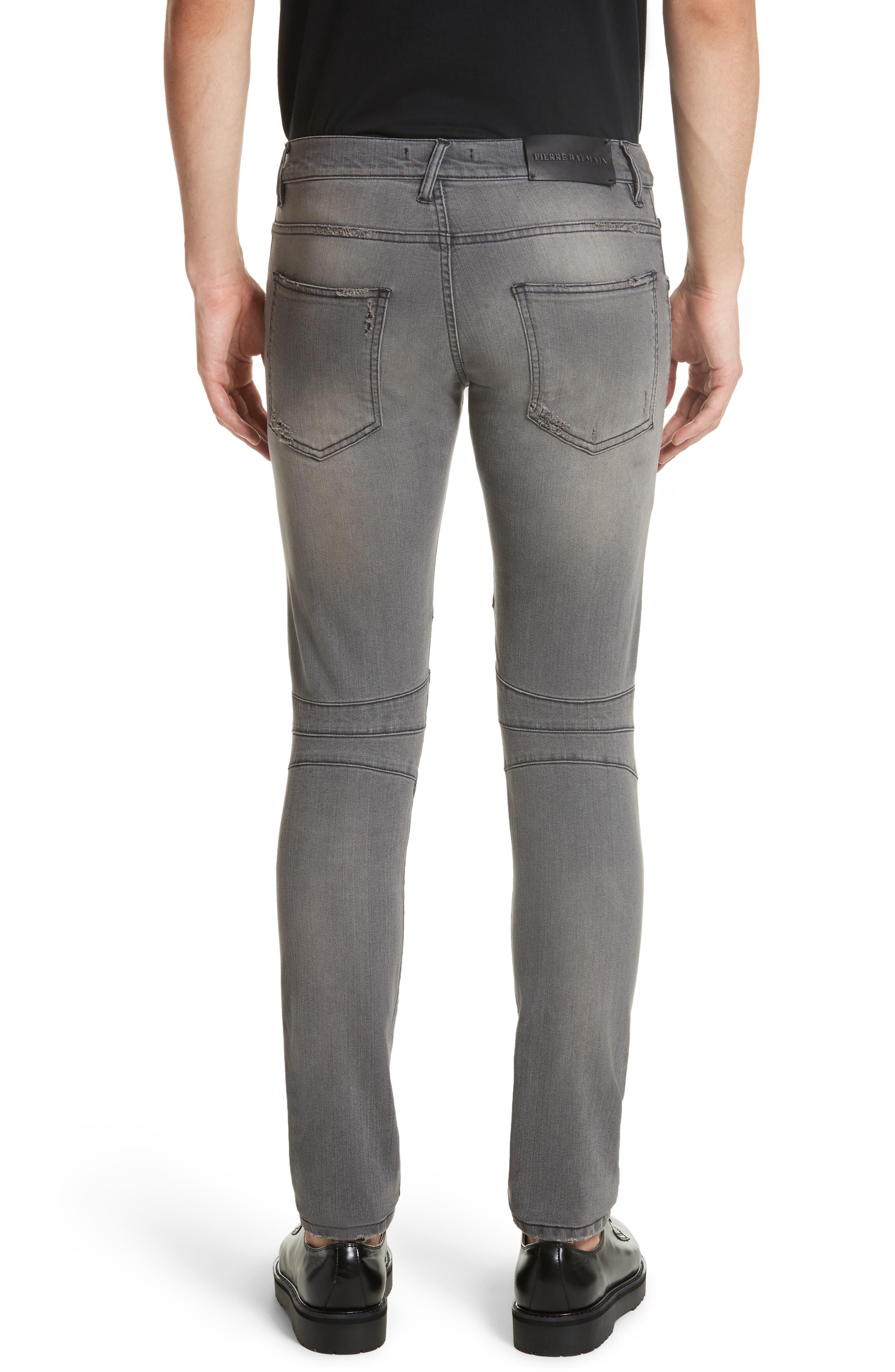 Distressed Moto Jeans,                             Alternate thumbnail 3, color,