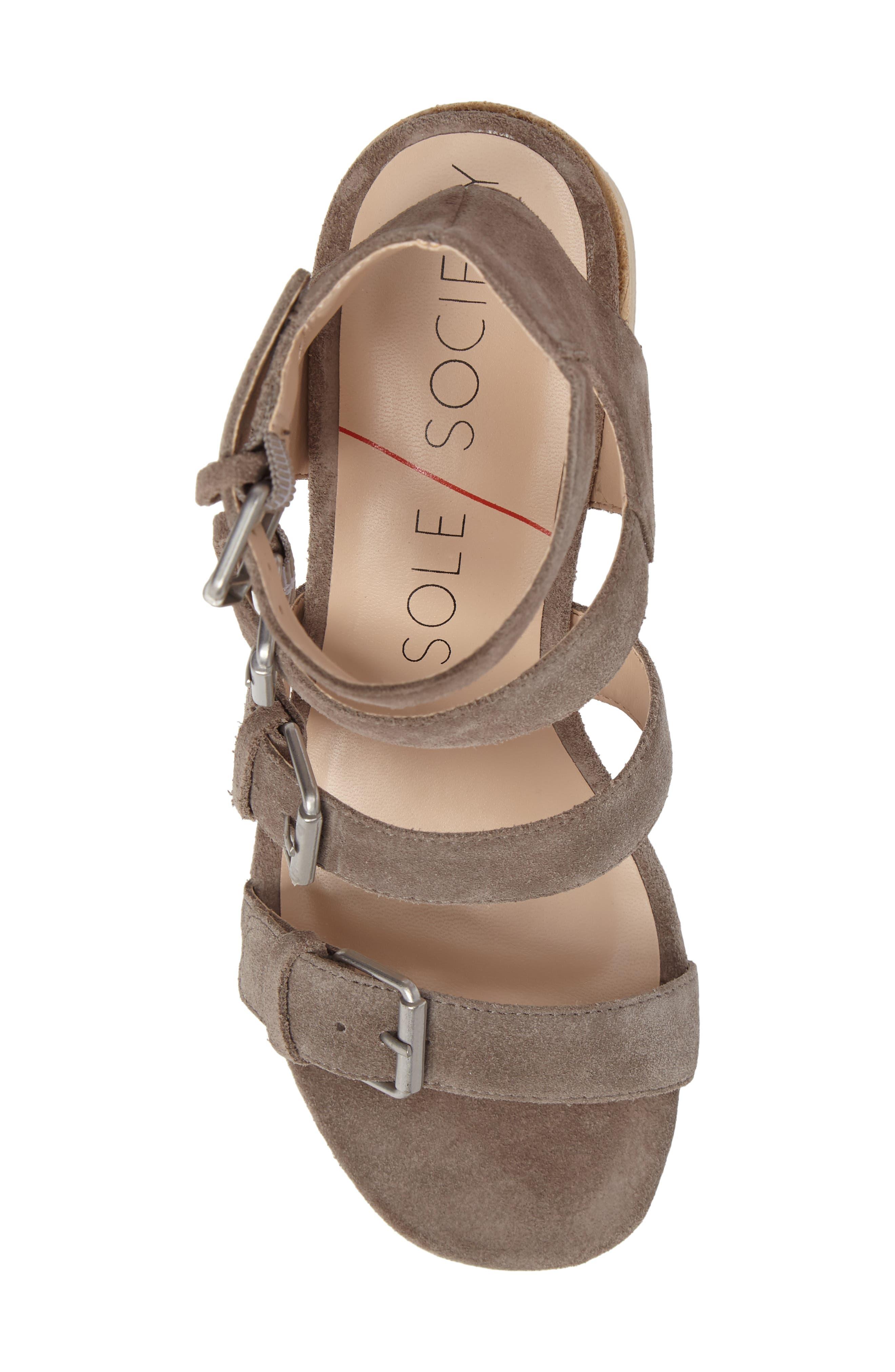 Culver Block Heel Sandal,                             Alternate thumbnail 5, color,                             MUSHROOM SUEDE