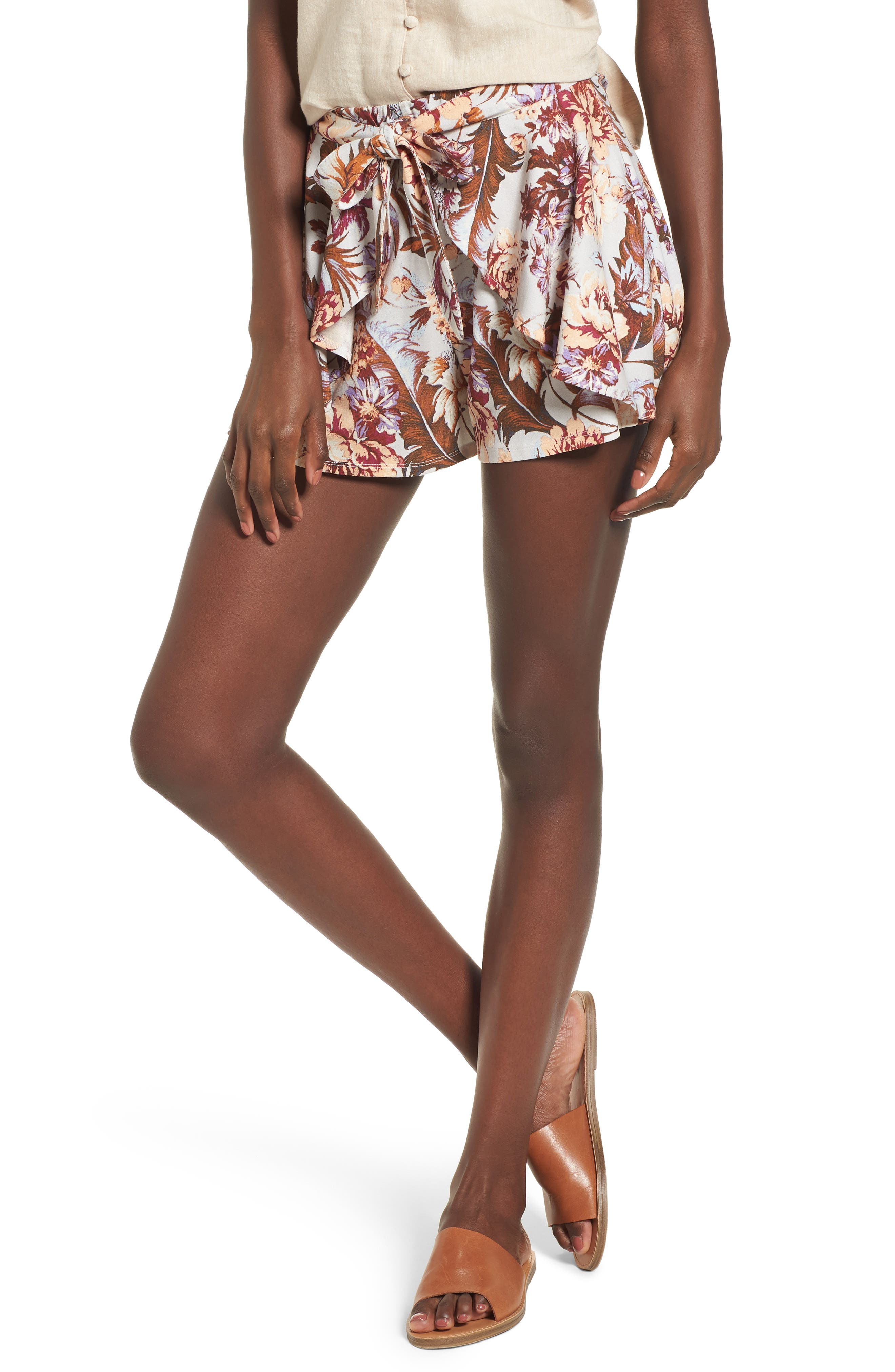 Print Tulip Hem Shorts,                         Main,                         color,