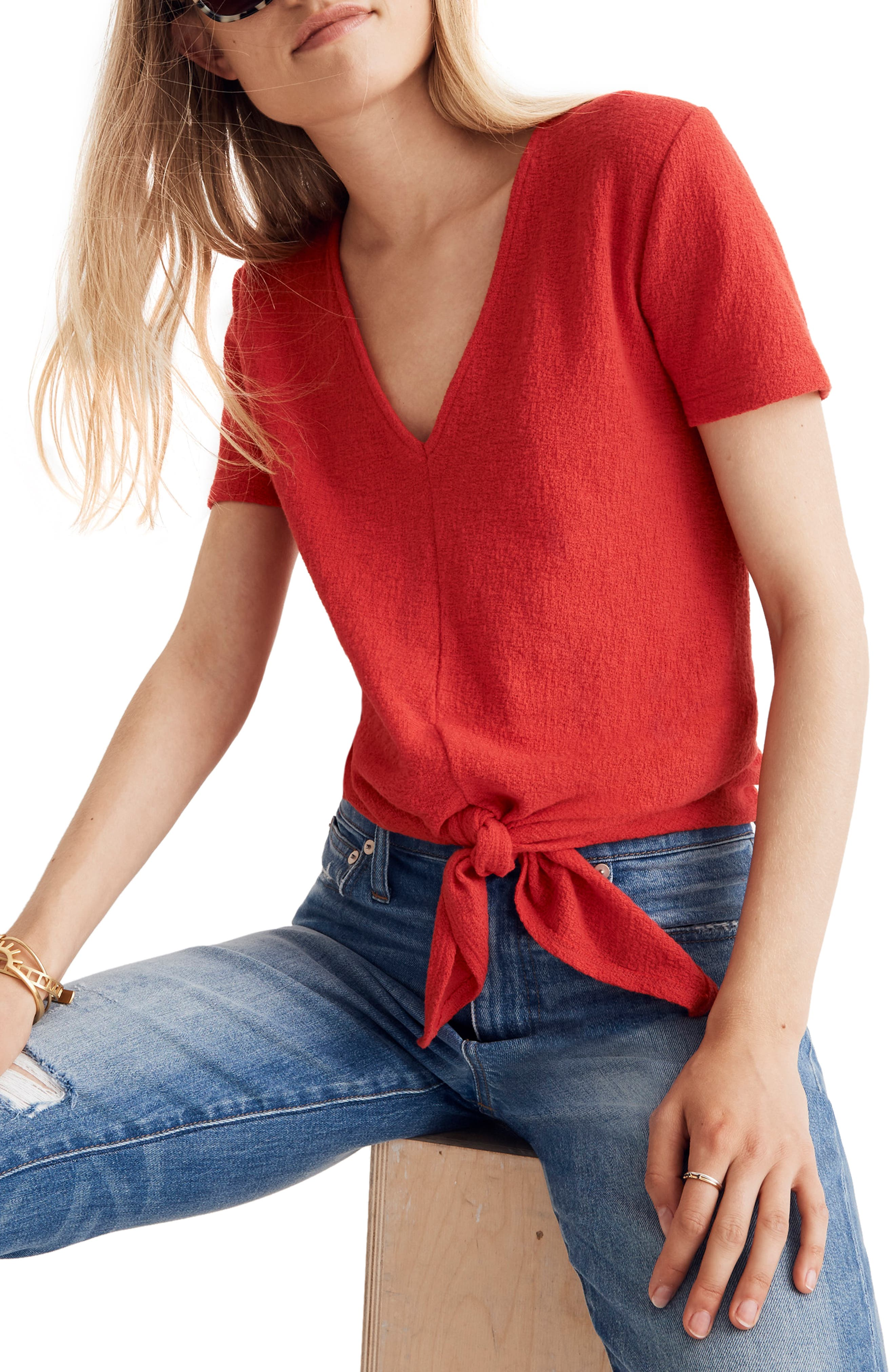 Texture & Thread V-Neck Modern Tie-Front Top,                             Main thumbnail 1, color,                             CRANBERRY
