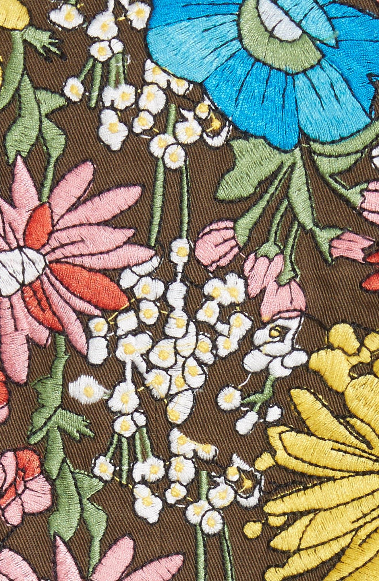 Huxley Floral Embroidered Safari Jacket,                             Alternate thumbnail 6, color,                             310