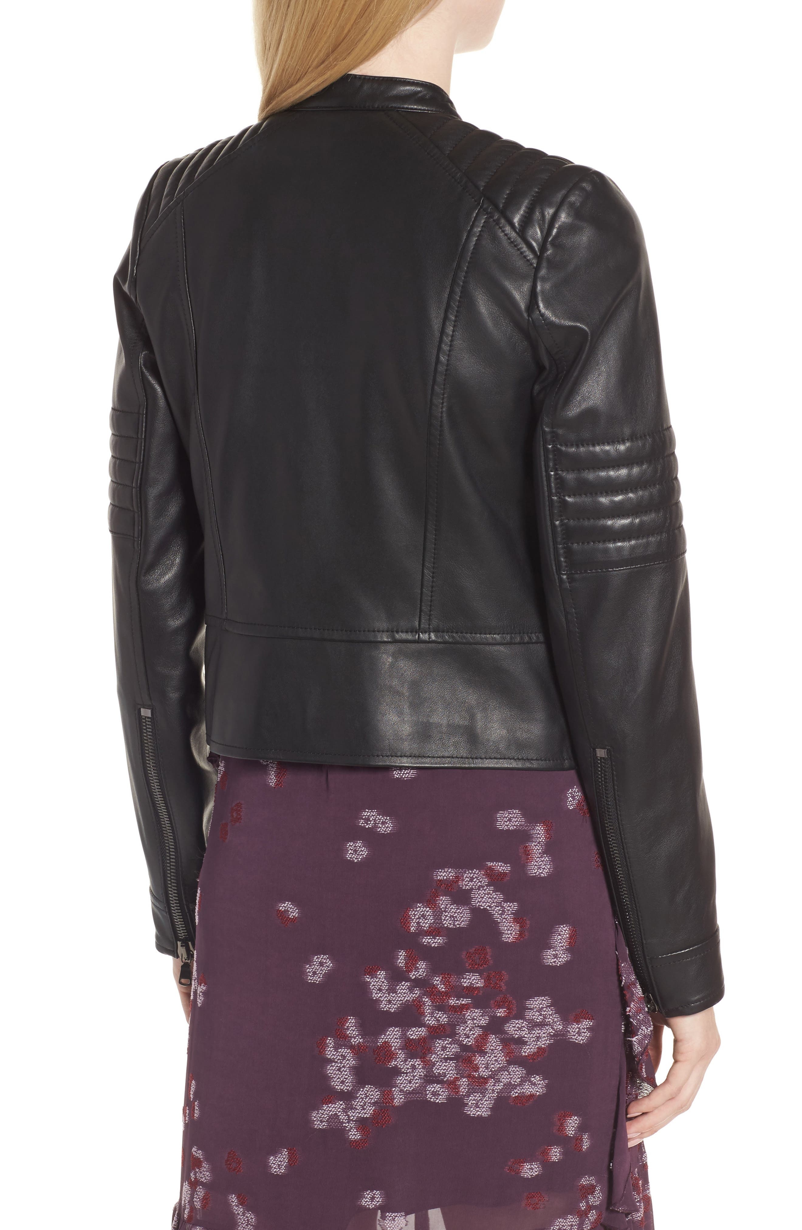 Quilted Sleeve Leather Biker Jacket,                             Alternate thumbnail 2, color,                             001
