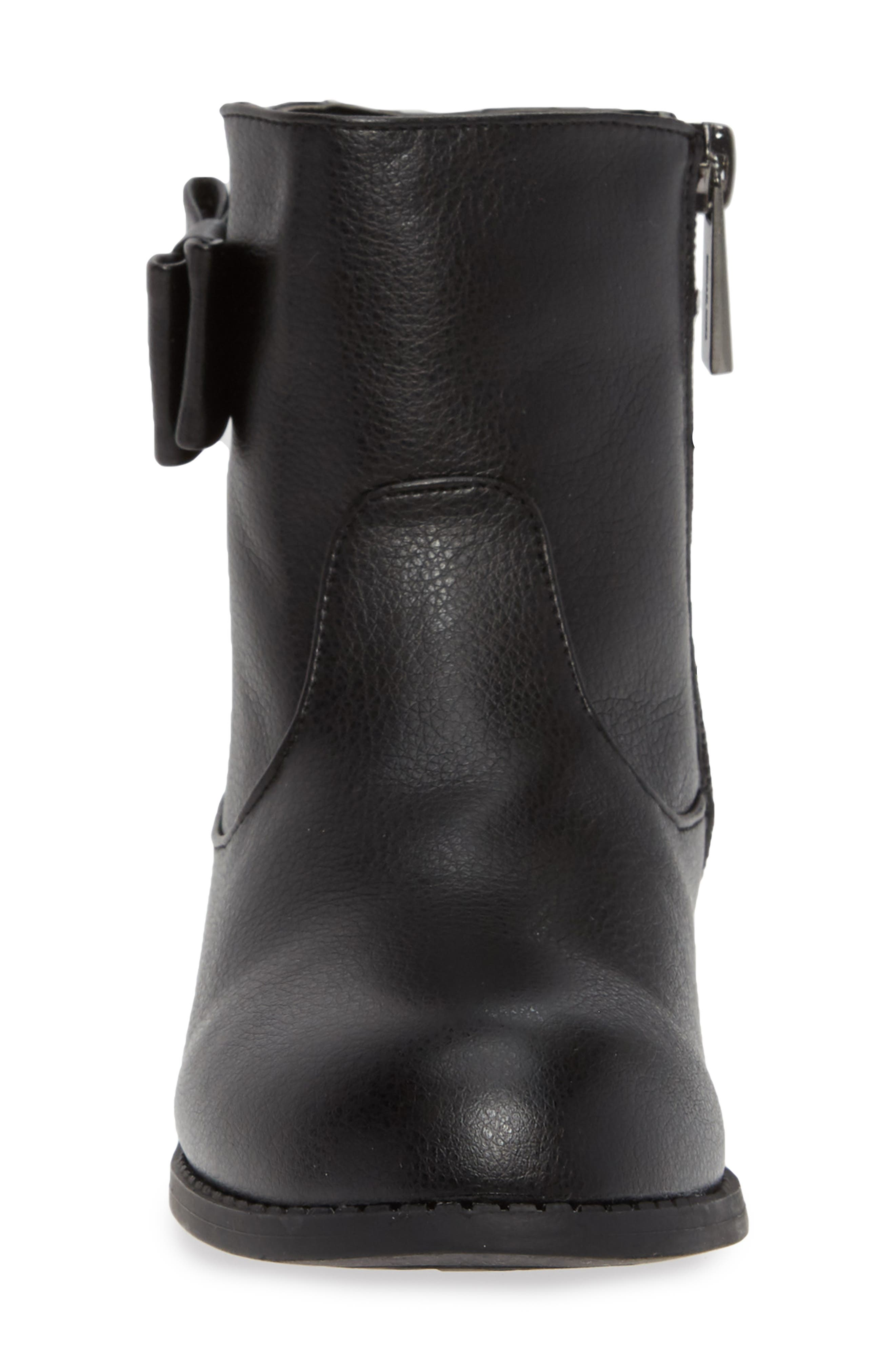 Emma Flow Faux Leather Bootie,                             Alternate thumbnail 4, color,                             BLACK