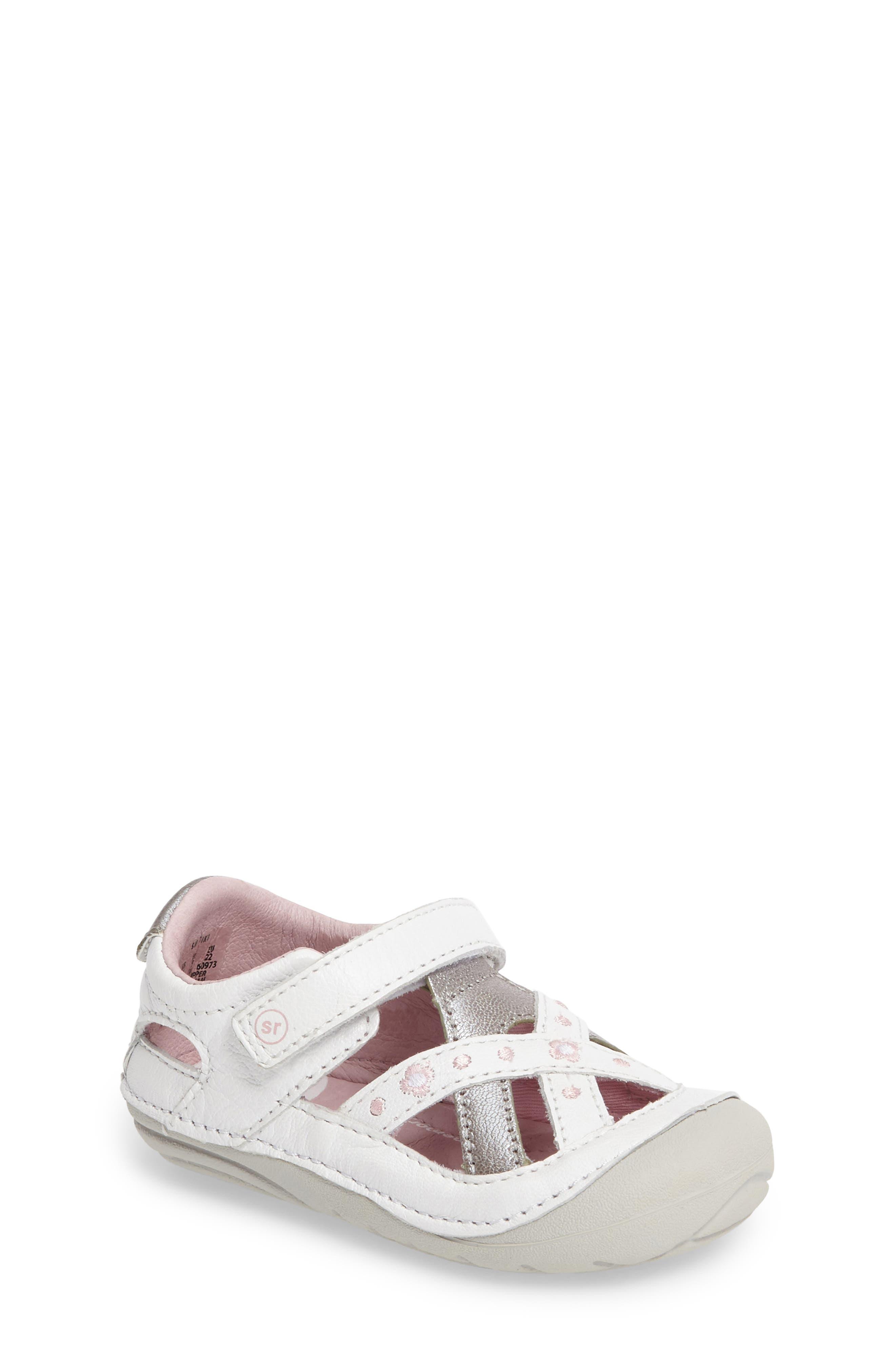 STRIDE RITE Kiki Embroidered Sneaker, Main, color, WHITE