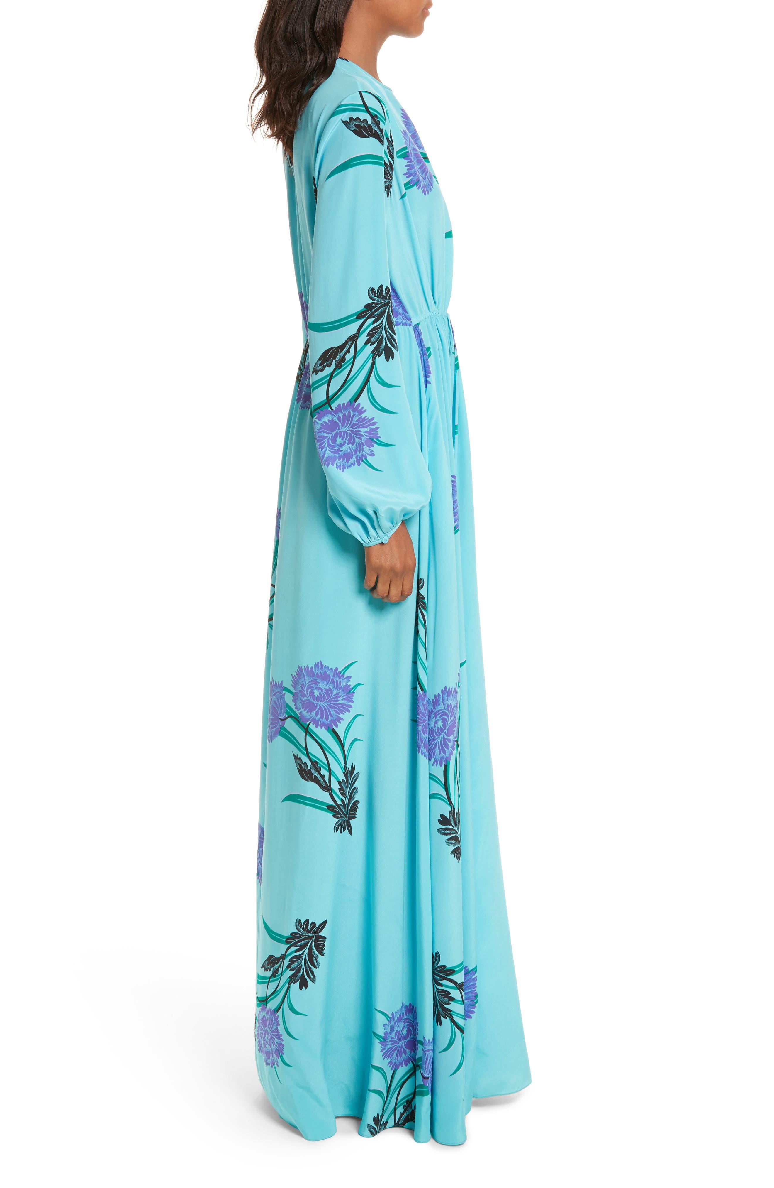 Floral Print Stretch-Silk Maxi Dress,                             Alternate thumbnail 3, color,                             445