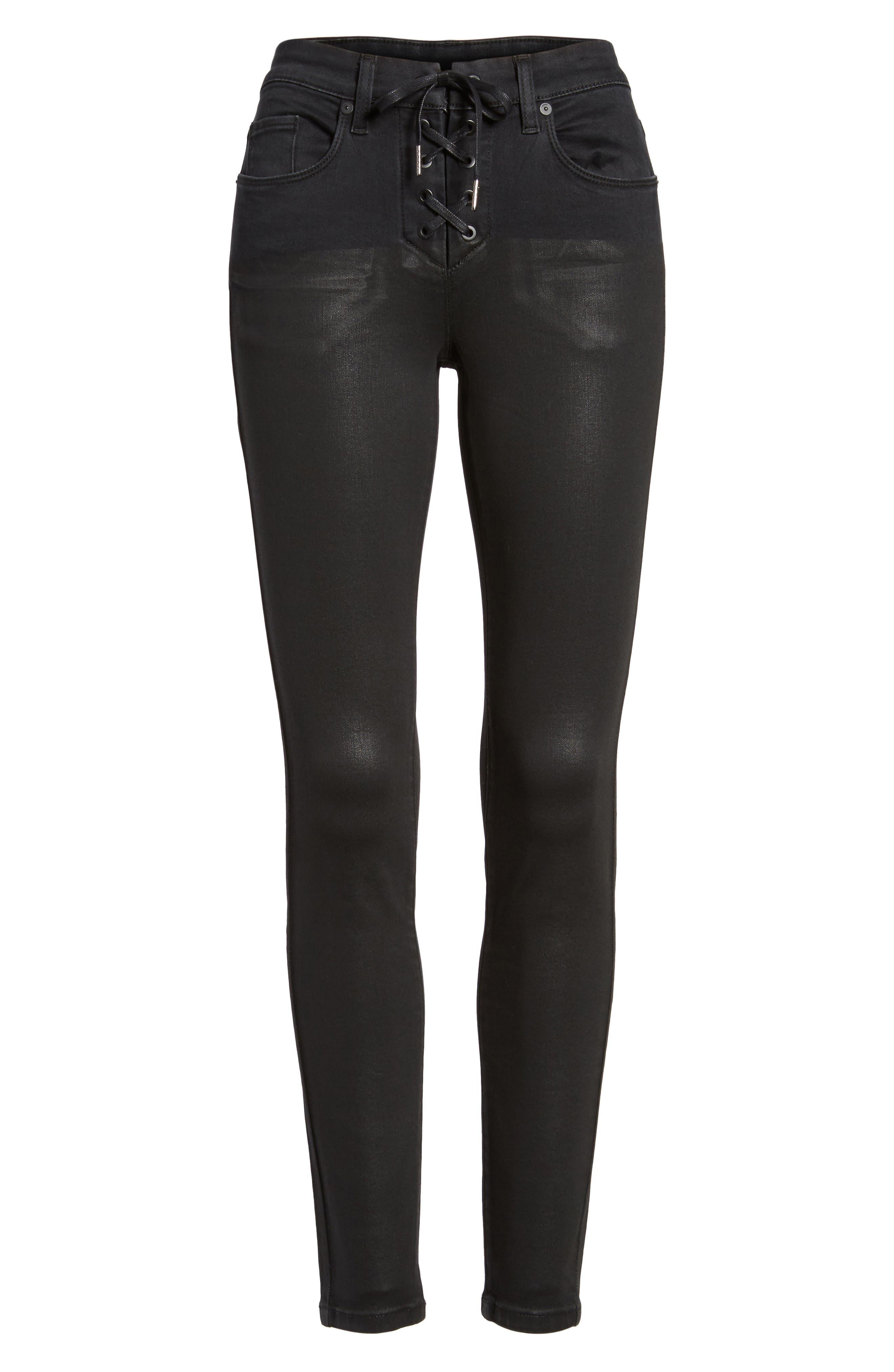 Black Jack Lace-Up Skinny Jeans,                             Alternate thumbnail 6, color,