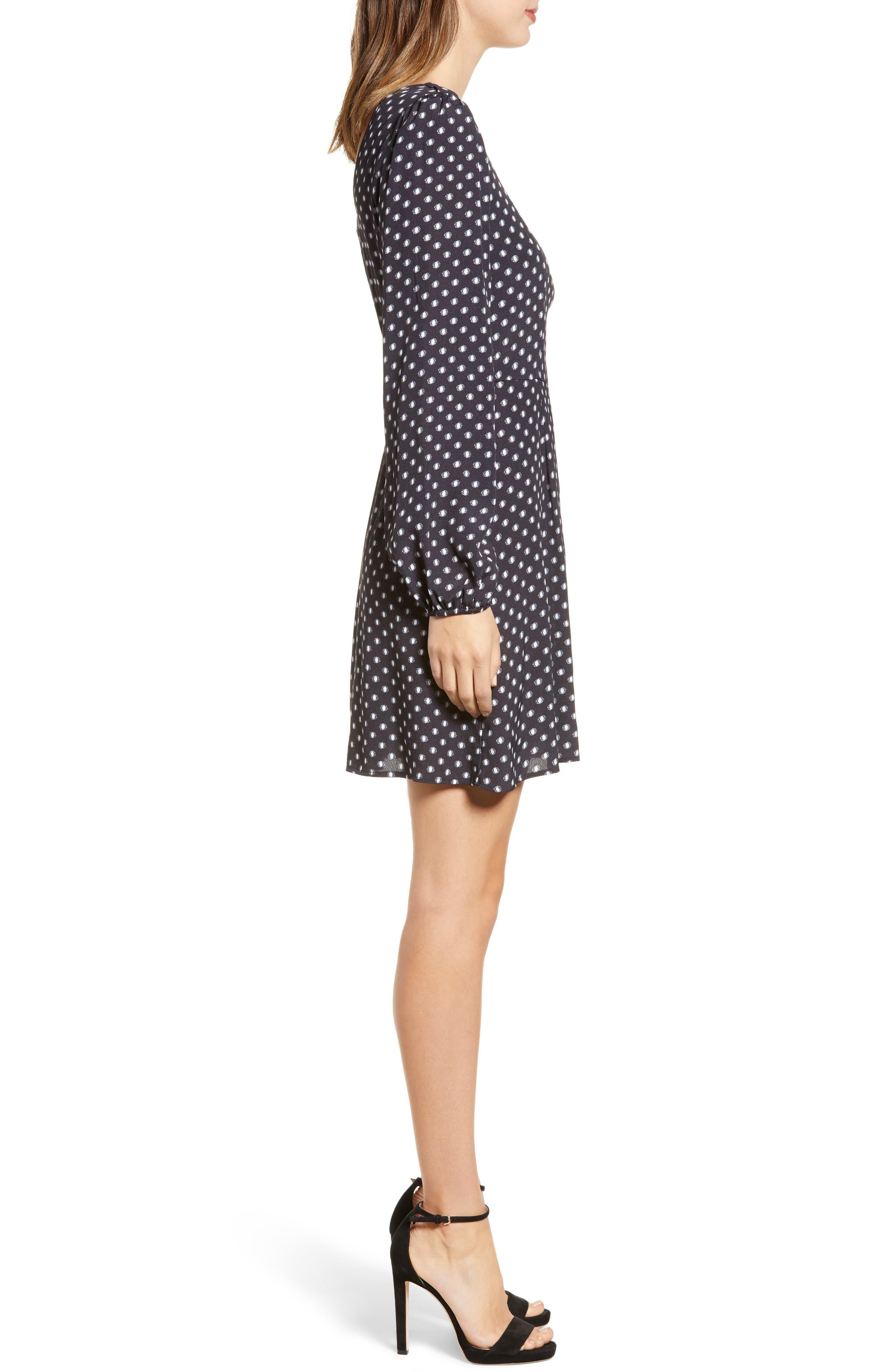 Printed A-Line Dress,                             Alternate thumbnail 3, color,                             BLACK/ WHITE DOT