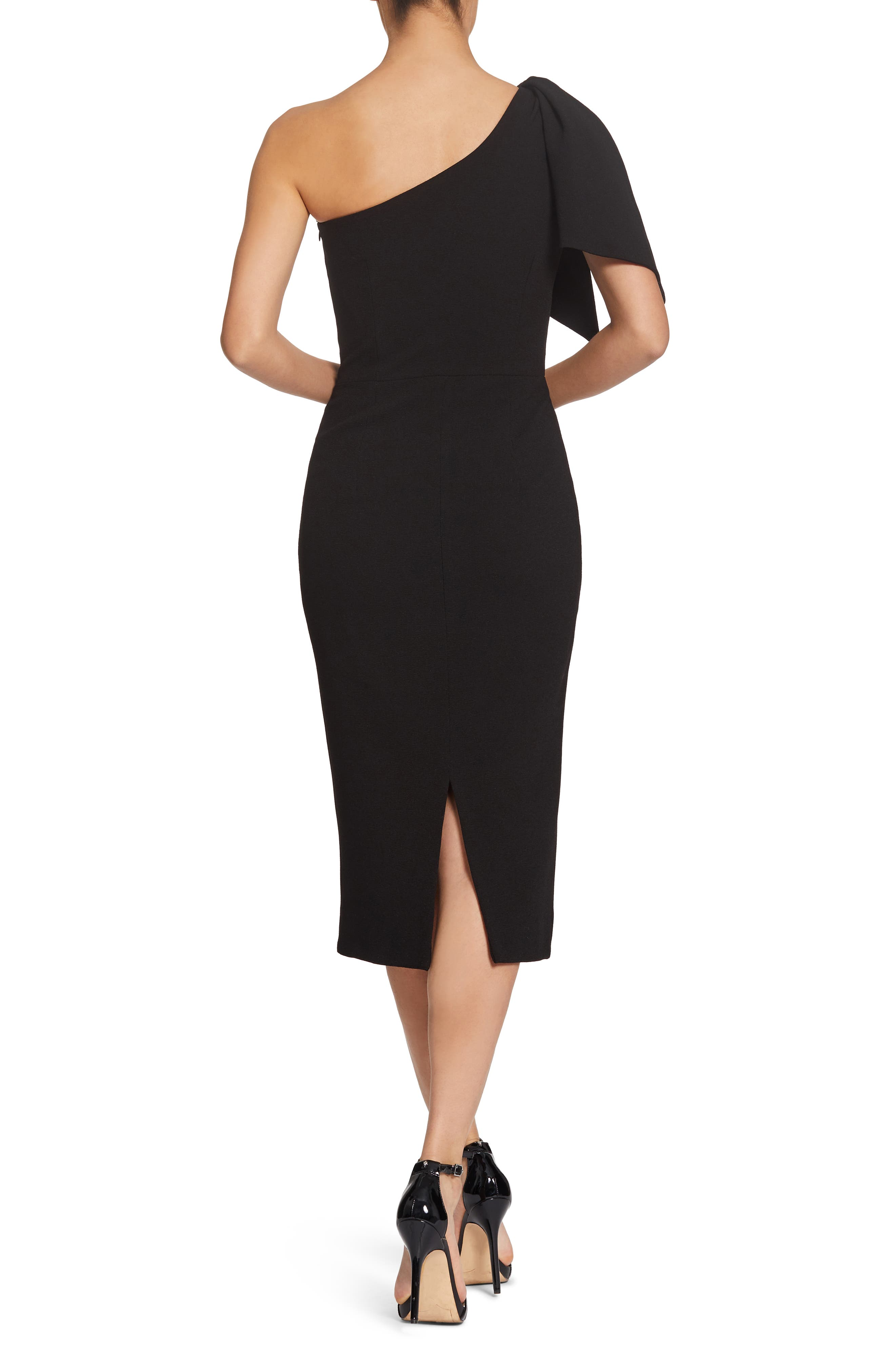 Tiffany One-Shoulder Midi Dress,                             Alternate thumbnail 2, color,                             BLACK
