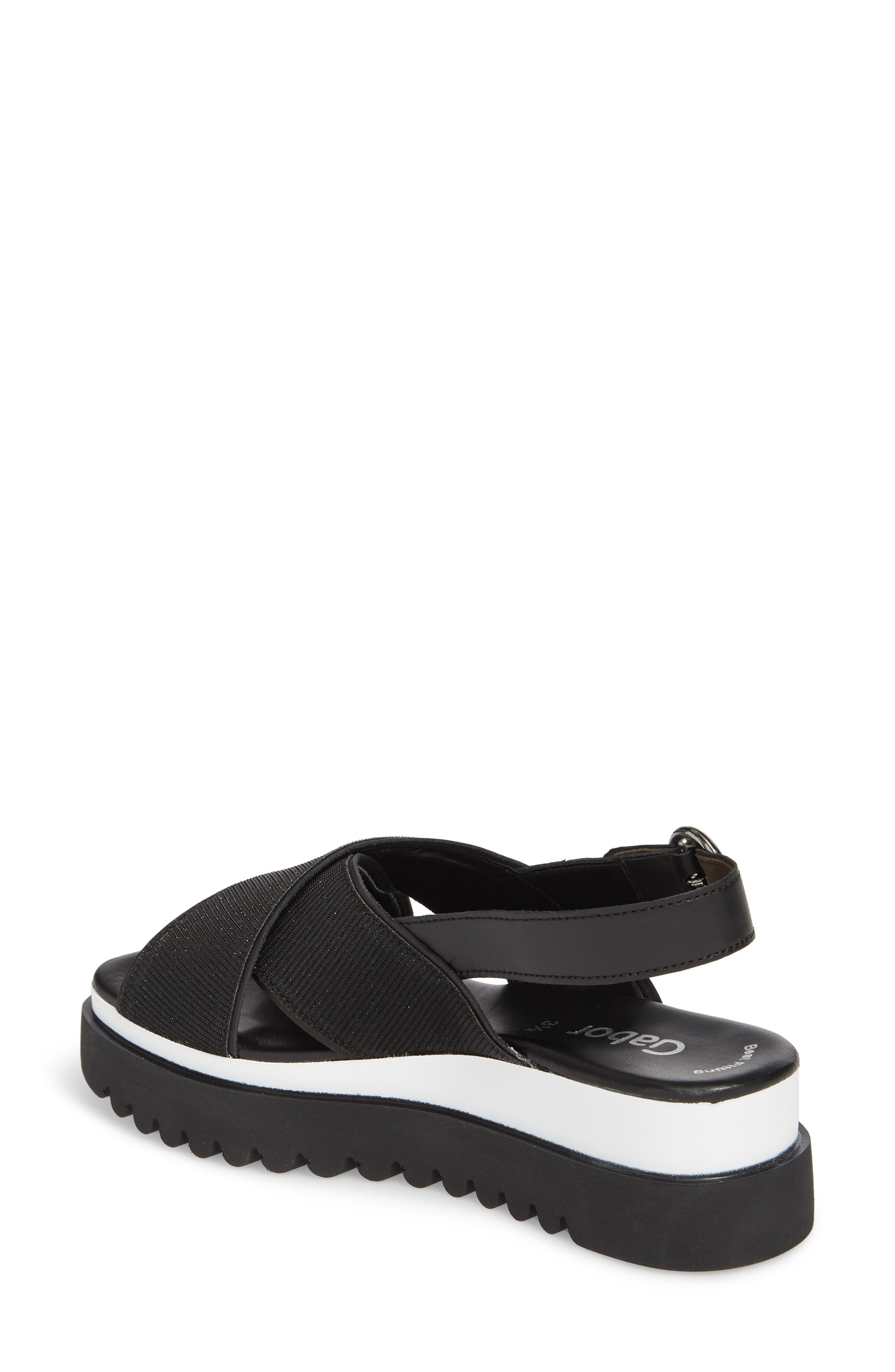 Crossover Strap Platform Sandal,                             Alternate thumbnail 2, color,                             BLACK LEATHER