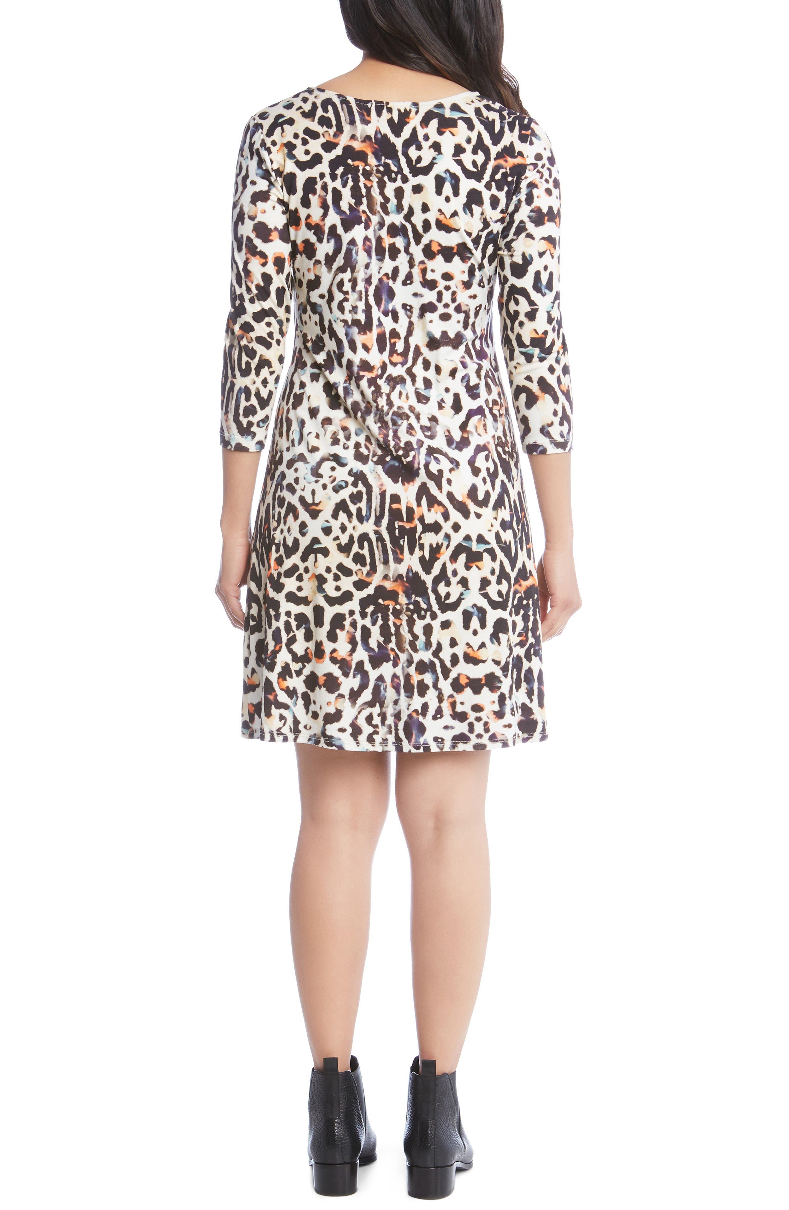 Leopard Print A-Line Dress,                             Alternate thumbnail 2, color,                             280