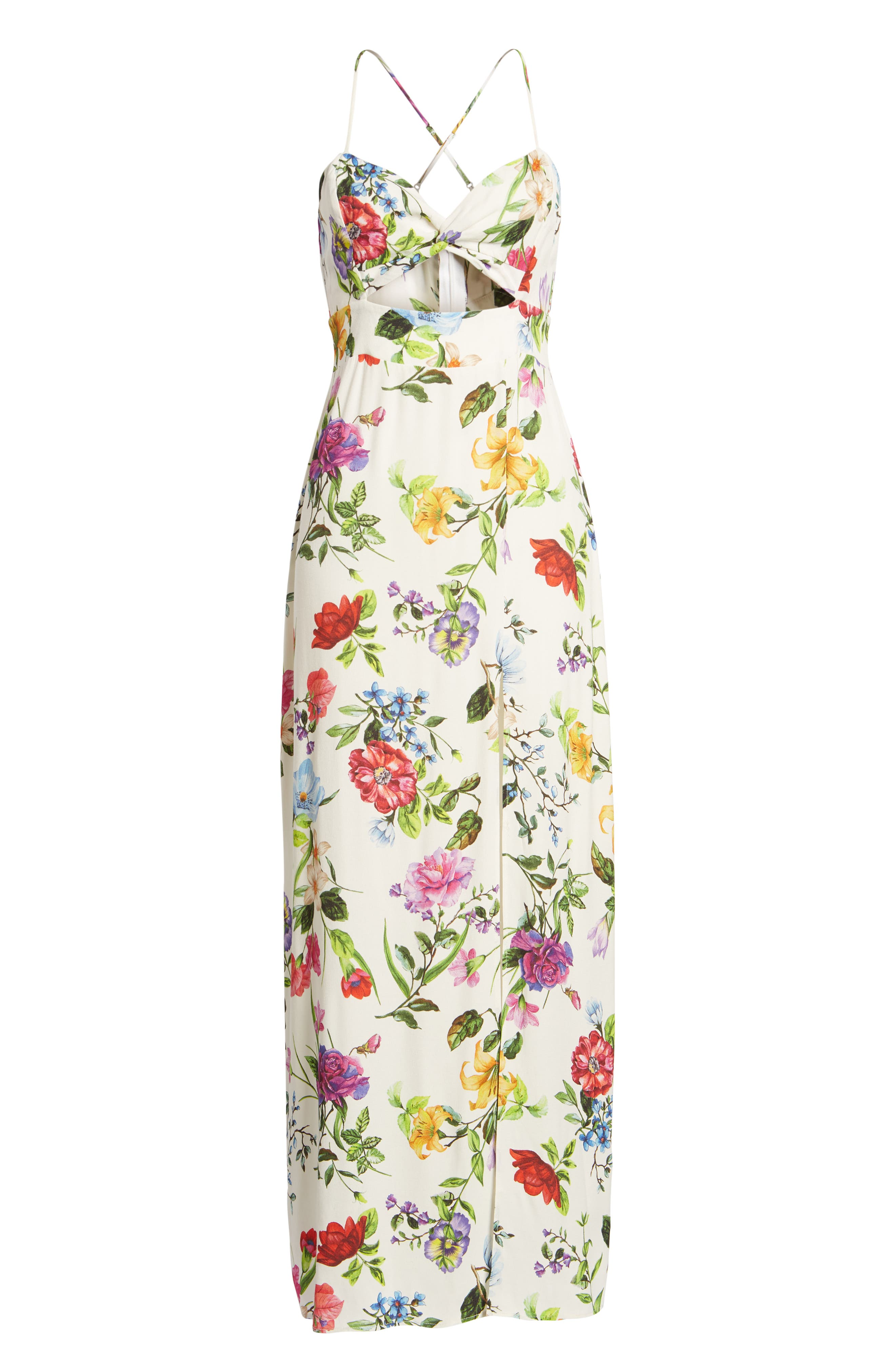 Marie Twisted Knot Front Maxi Dress,                             Alternate thumbnail 7, color,                             100