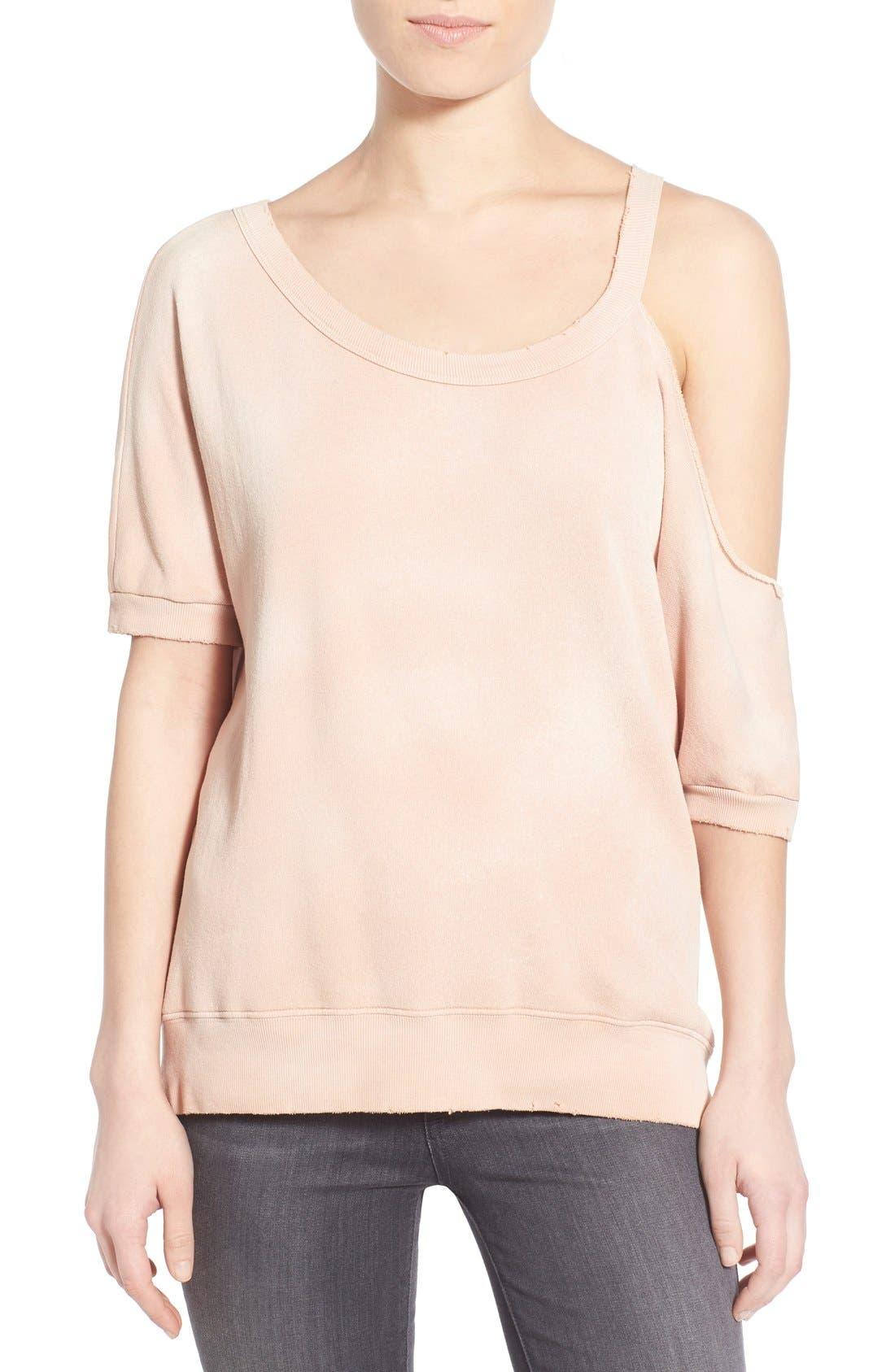 Distressed Open Shoulder Sweatshirt,                             Main thumbnail 2, color,