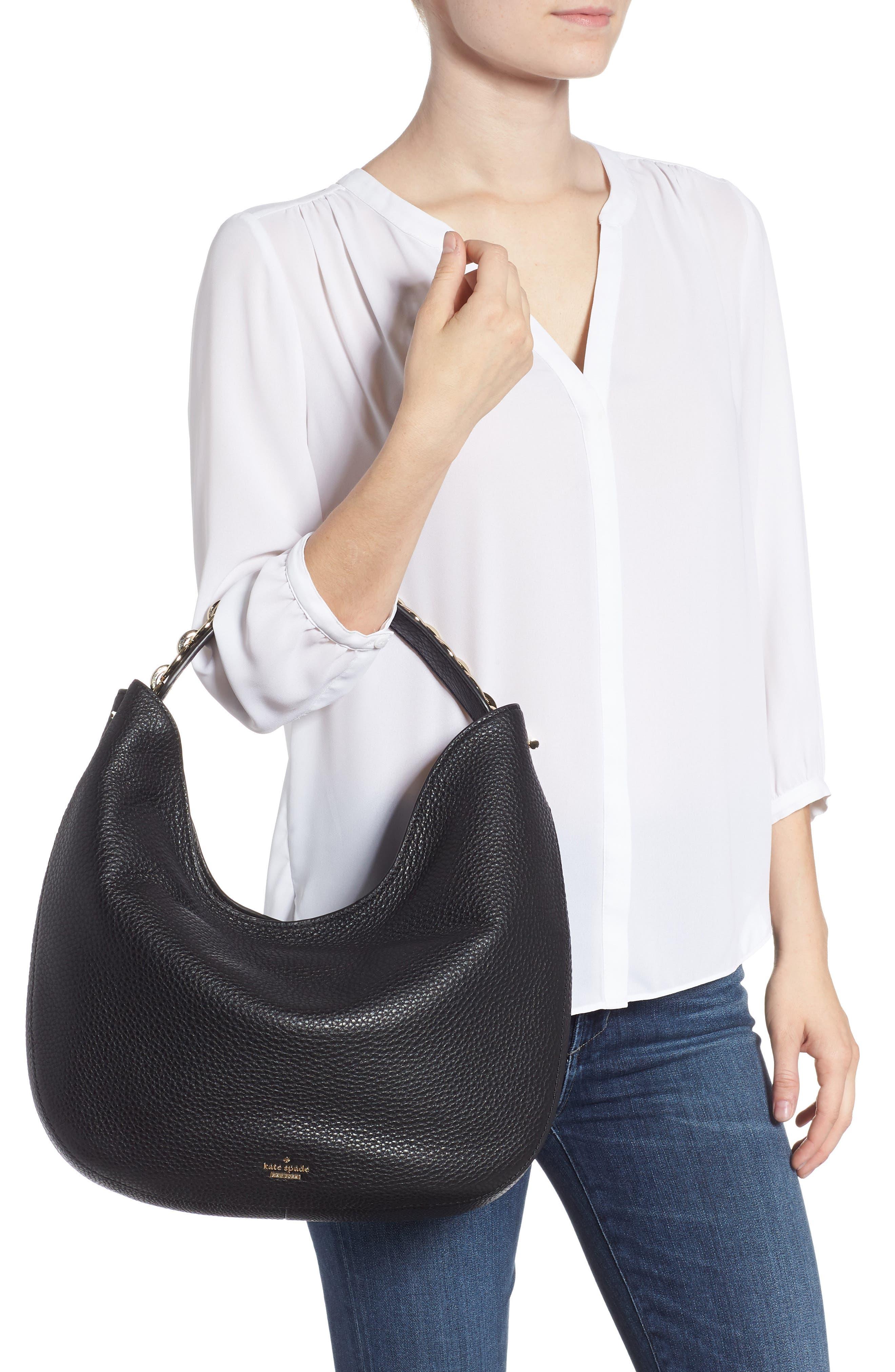 murray street heather pebbled leather hobo bag,                             Alternate thumbnail 2, color,                             BLACK
