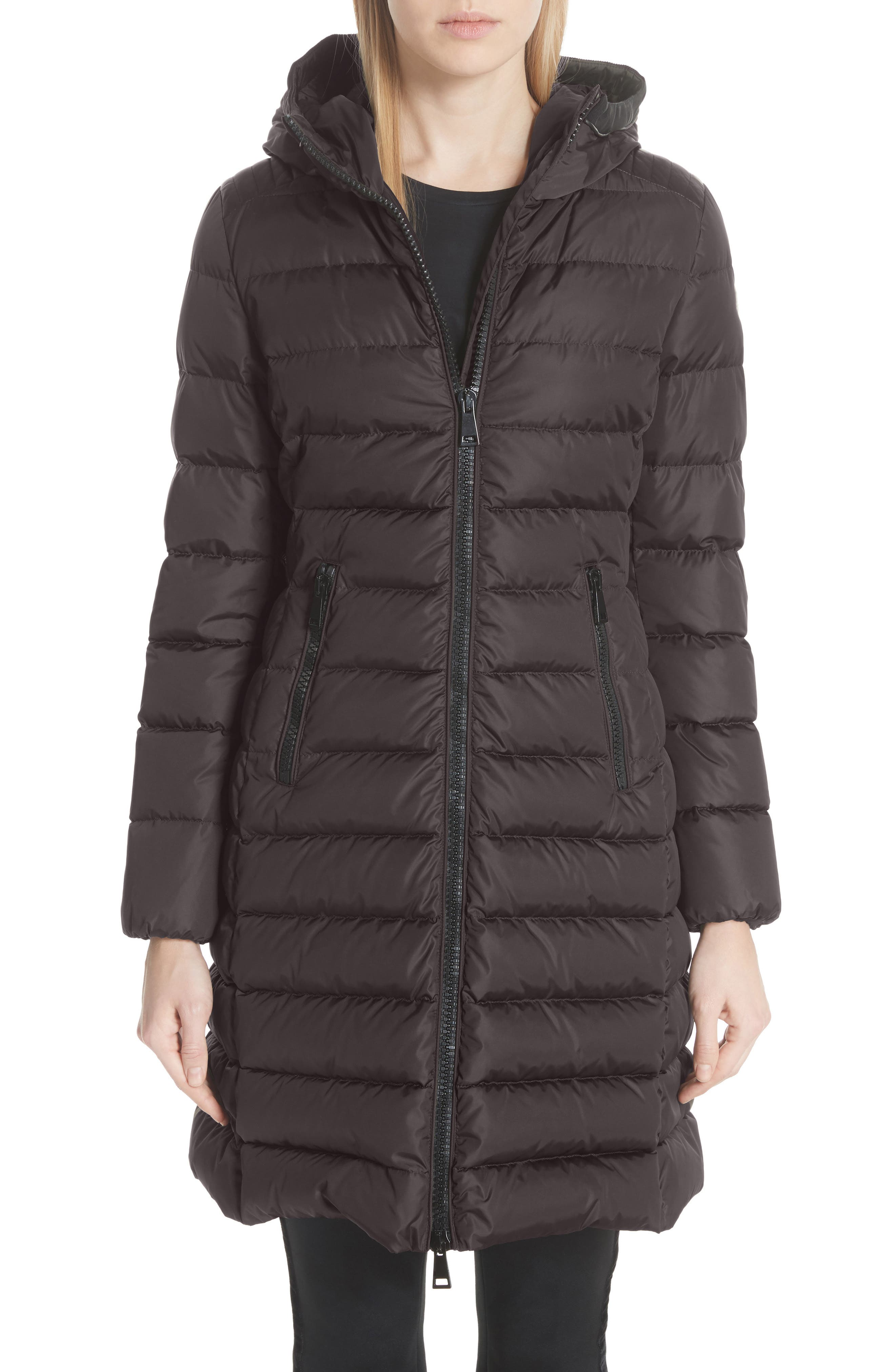 Taleve Hooded Quilted Down Coat,                             Main thumbnail 1, color,                             GREY