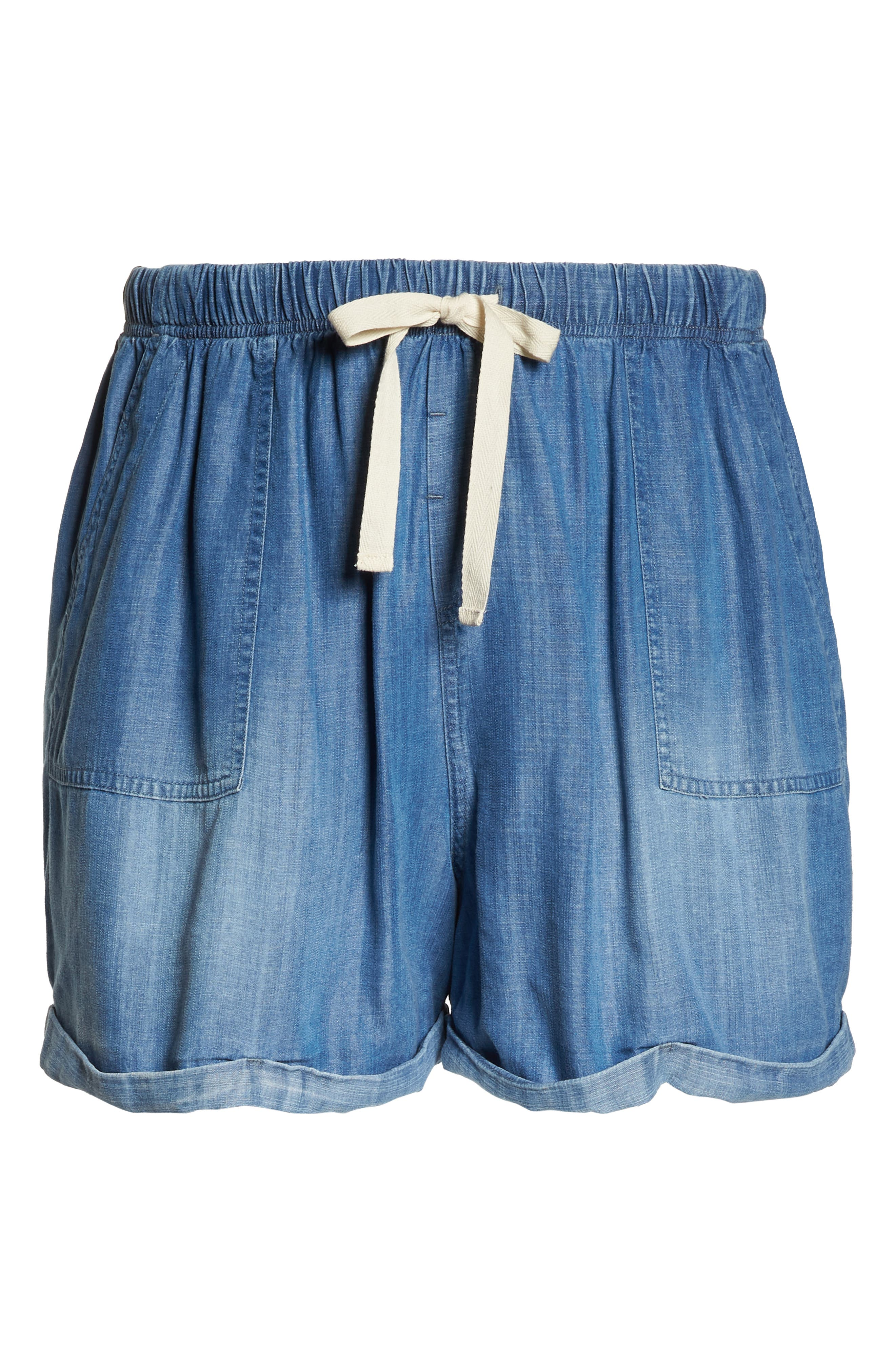 Drawstring Chambray Shorts,                             Alternate thumbnail 7, color,                             MEDIUM WASH