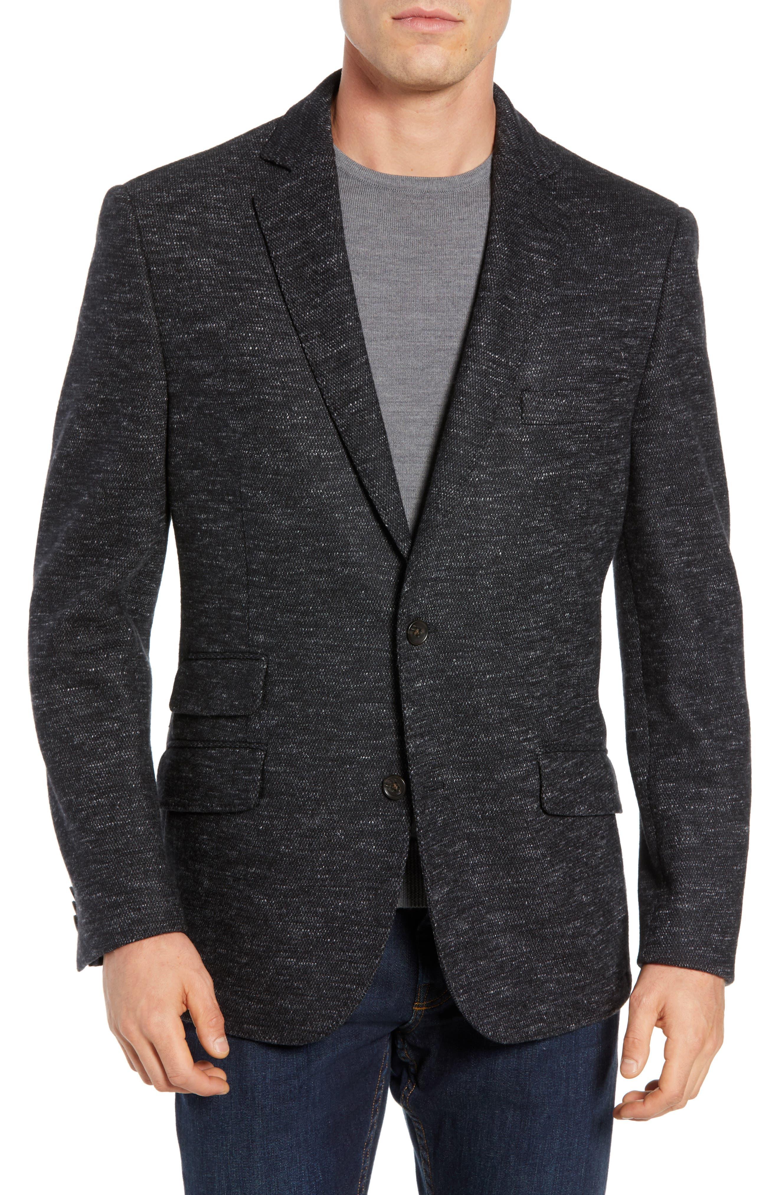Regular Fit Knit Wool Blend Sport Coat,                             Main thumbnail 1, color,                             CHARCOAL