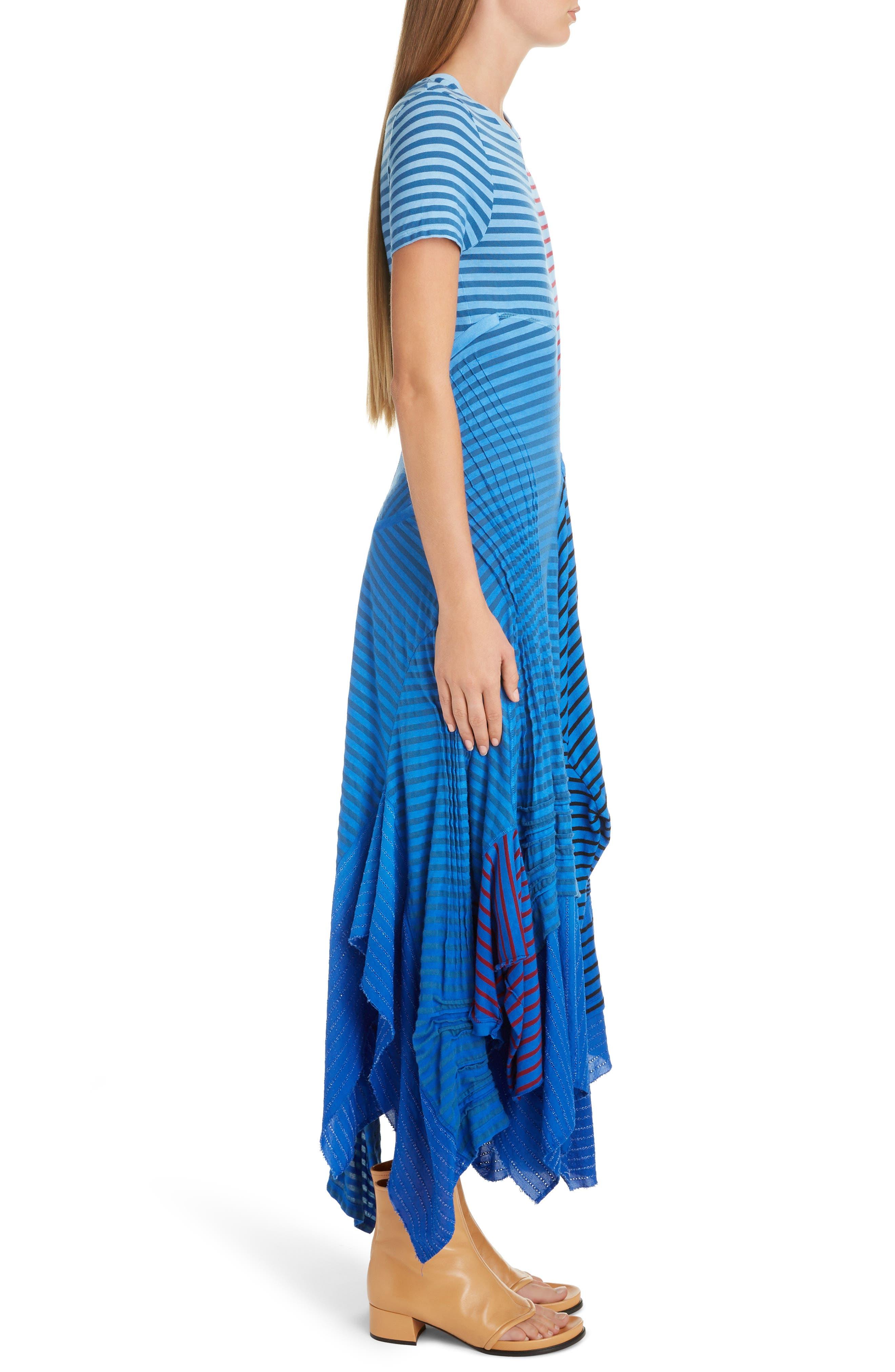 LOEWE,                             Stripe Tie Dye Asymmetrical Dress,                             Alternate thumbnail 3, color,                             5100 BLUE