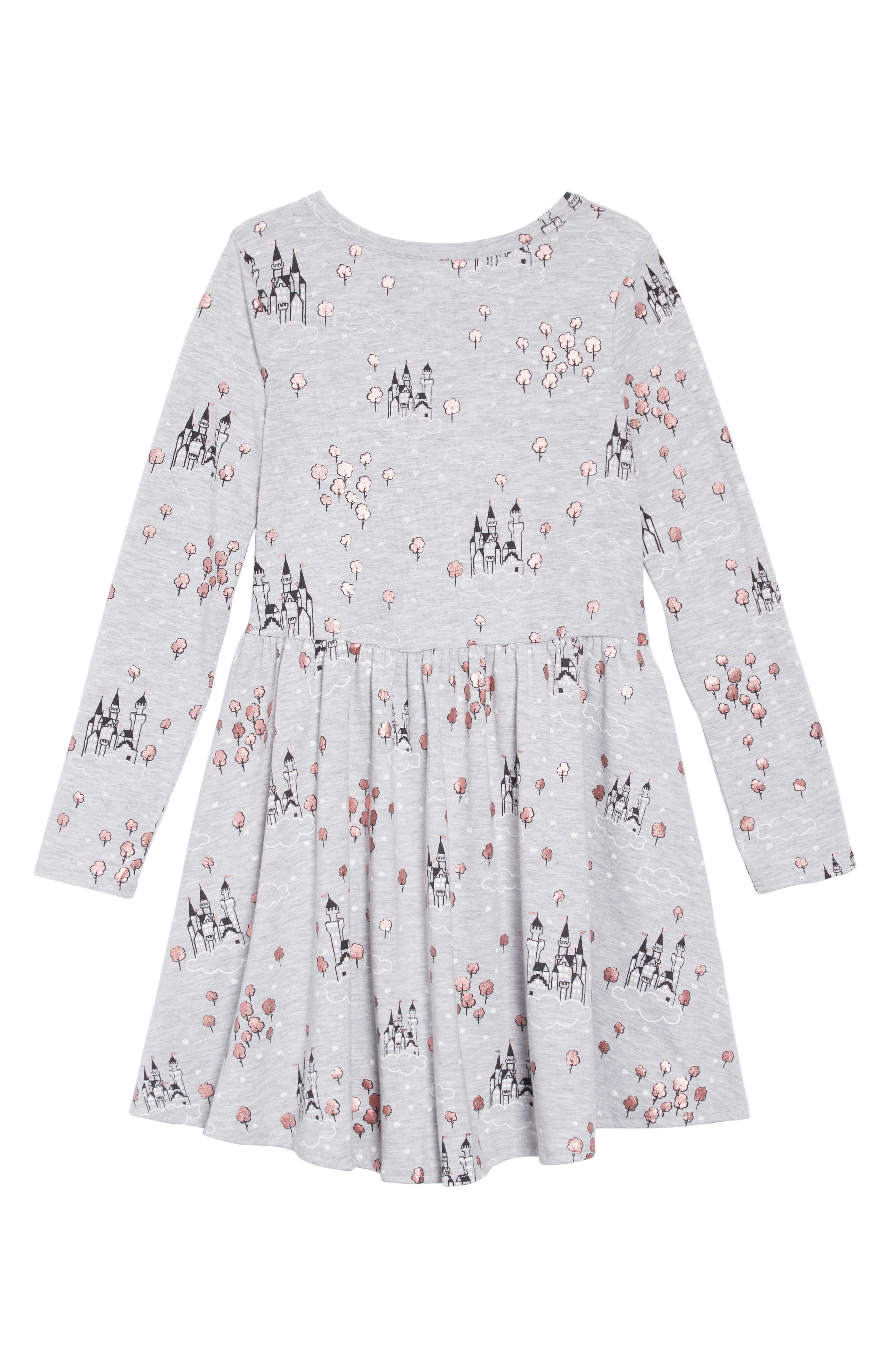 Print Knit Dress,                             Alternate thumbnail 2, color,                             GREY ASH HEATHER CASTLE