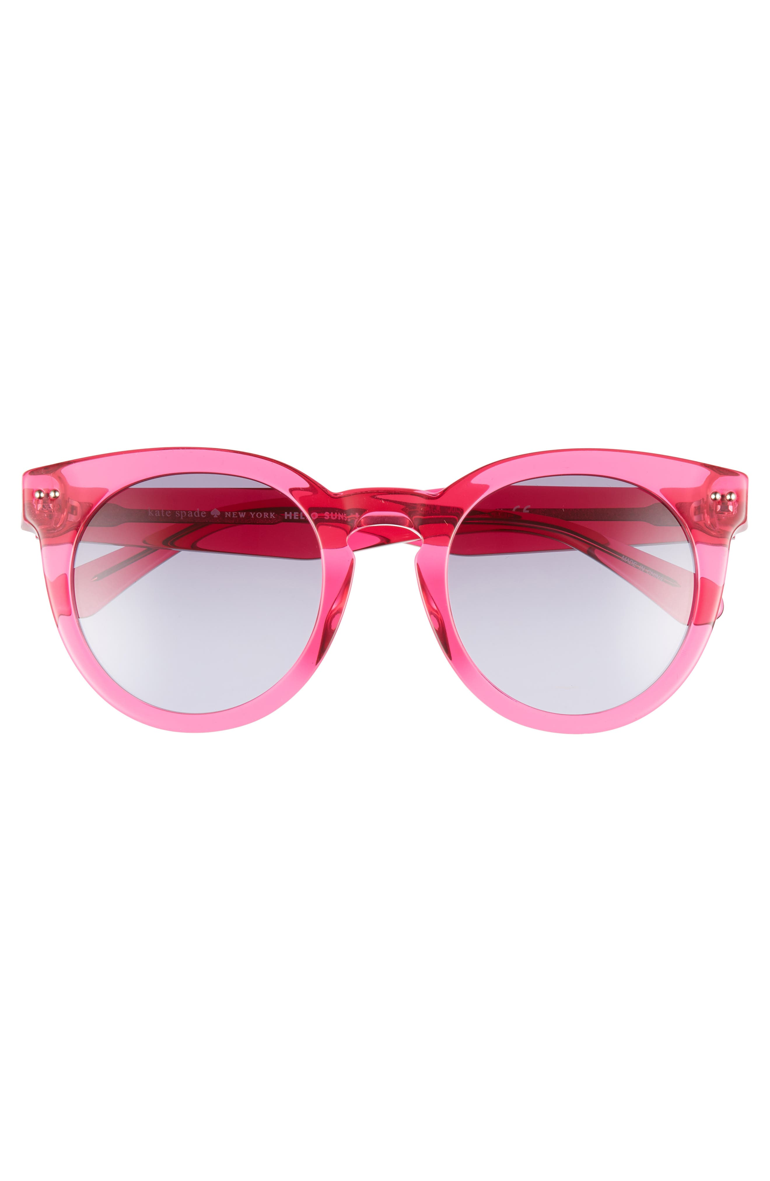 alexuss 50mm round sunglasses,                             Alternate thumbnail 3, color,                             CRYSTAL PINK