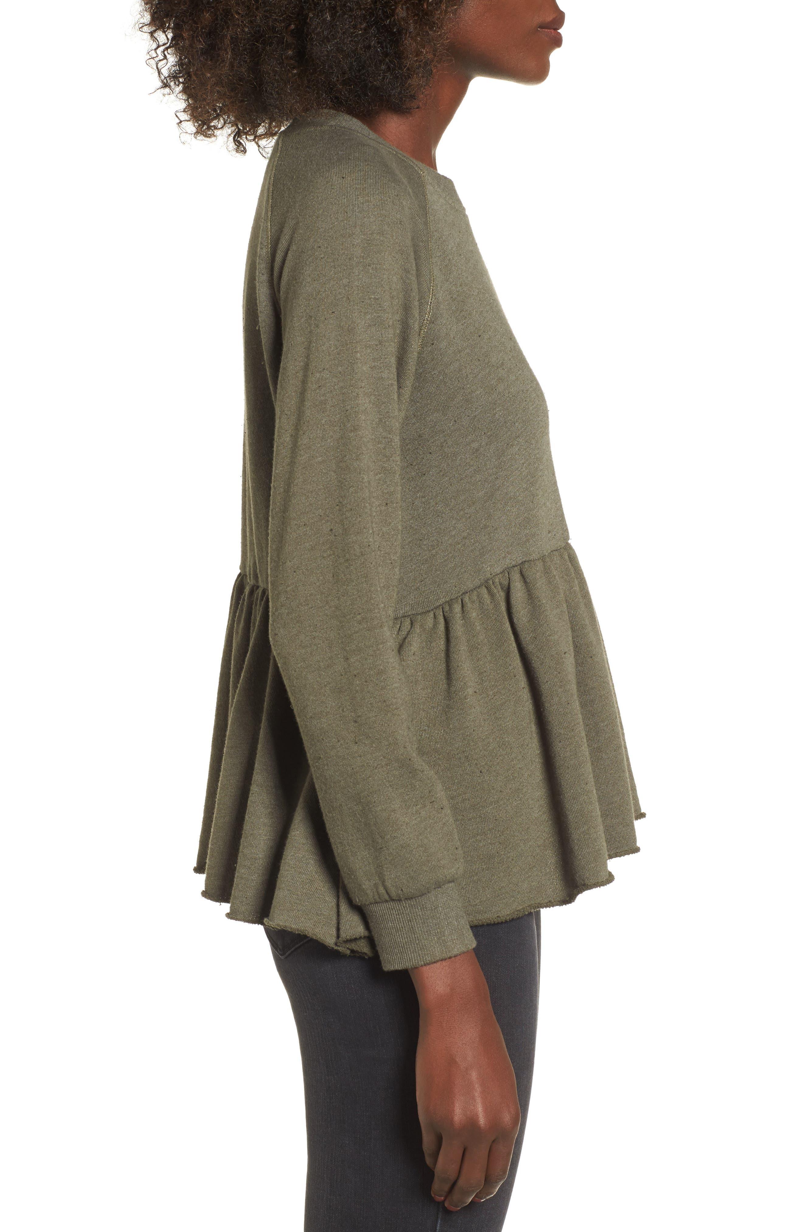 Viera Fleece Peplum Sweatshirt,                             Alternate thumbnail 6, color,
