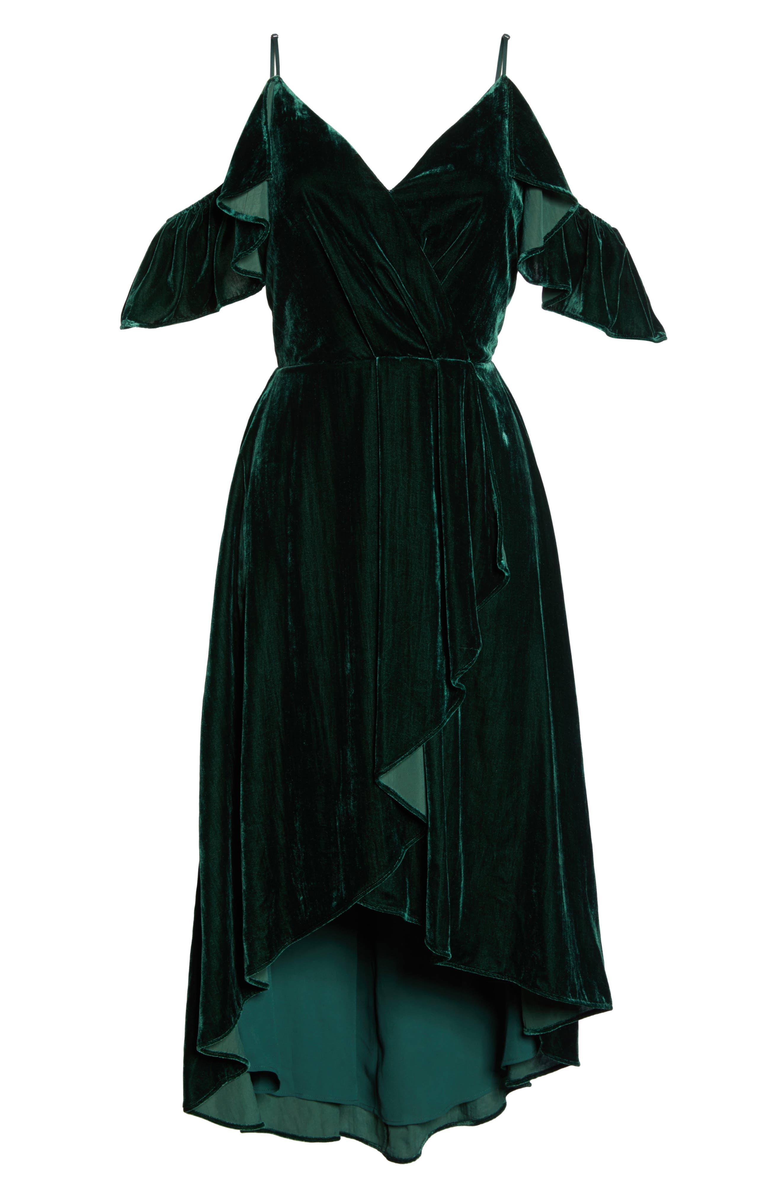 Cold Shoulder Velvet Midi Dress,                             Alternate thumbnail 6, color,                             301