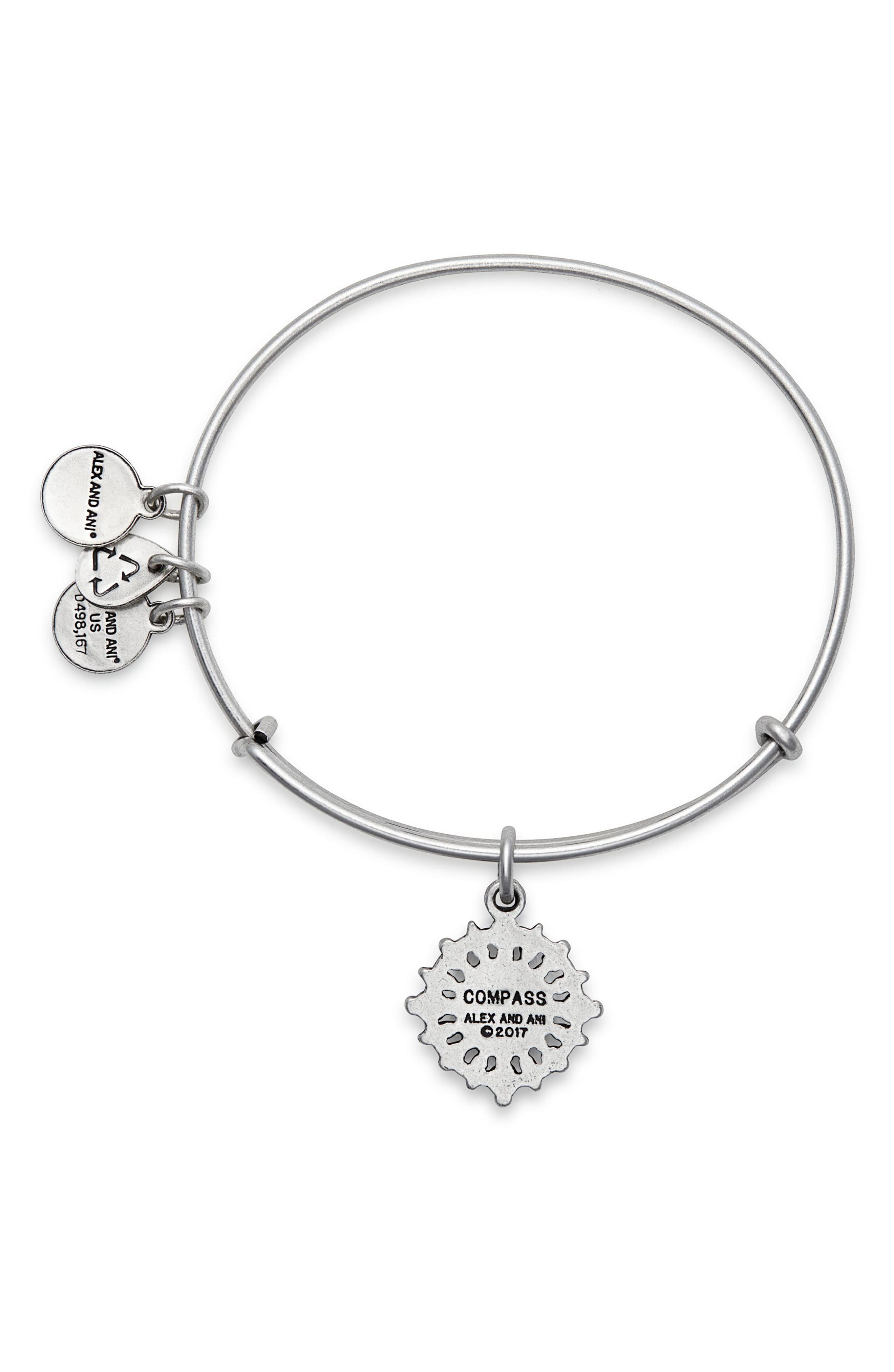 Compass Adjustable Wire Bangle,                             Alternate thumbnail 2, color,                             RUSSIAN SILVER