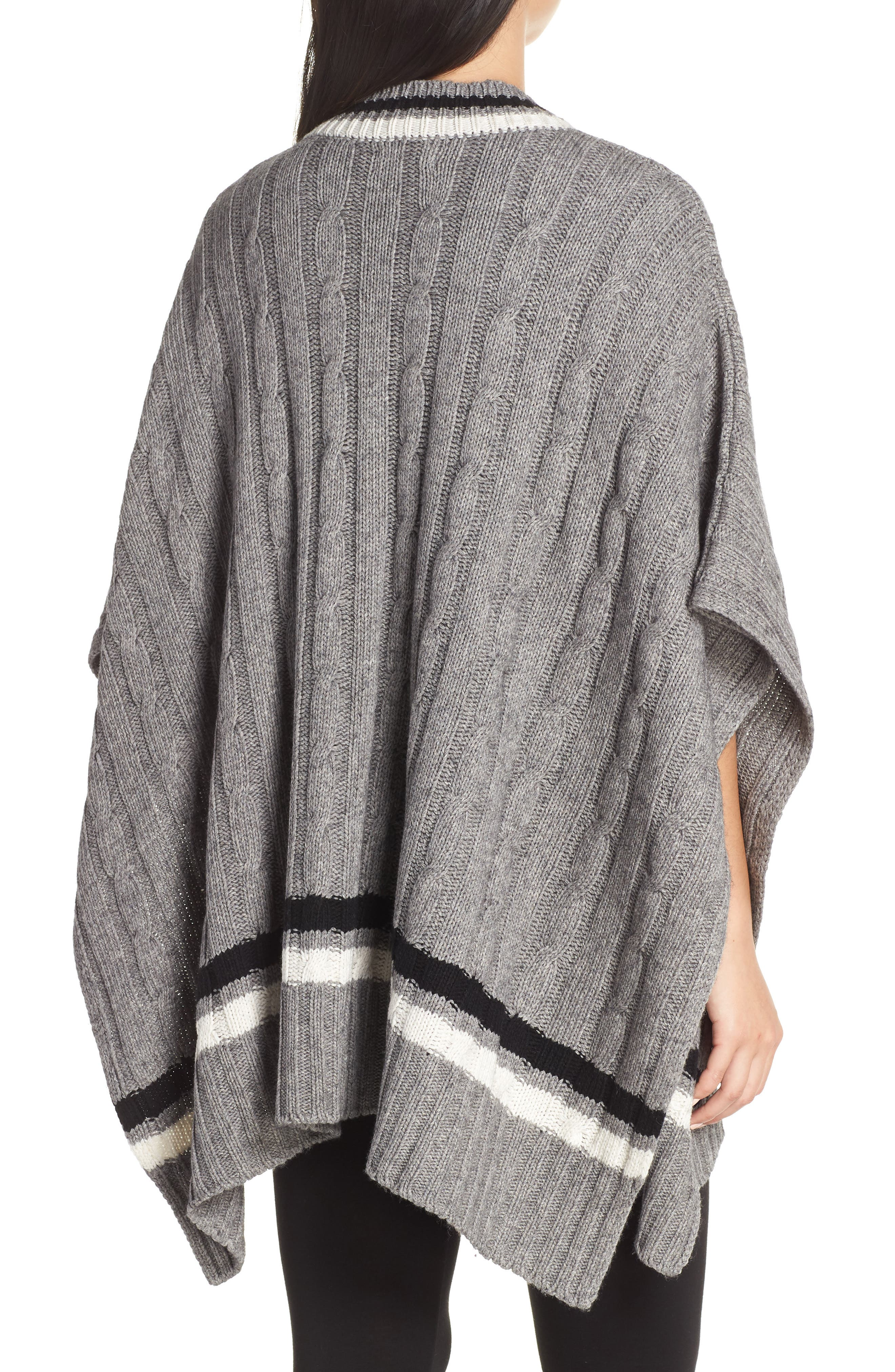Weslynn Poncho Sweater,                             Alternate thumbnail 2, color,                             GREY HEATHER