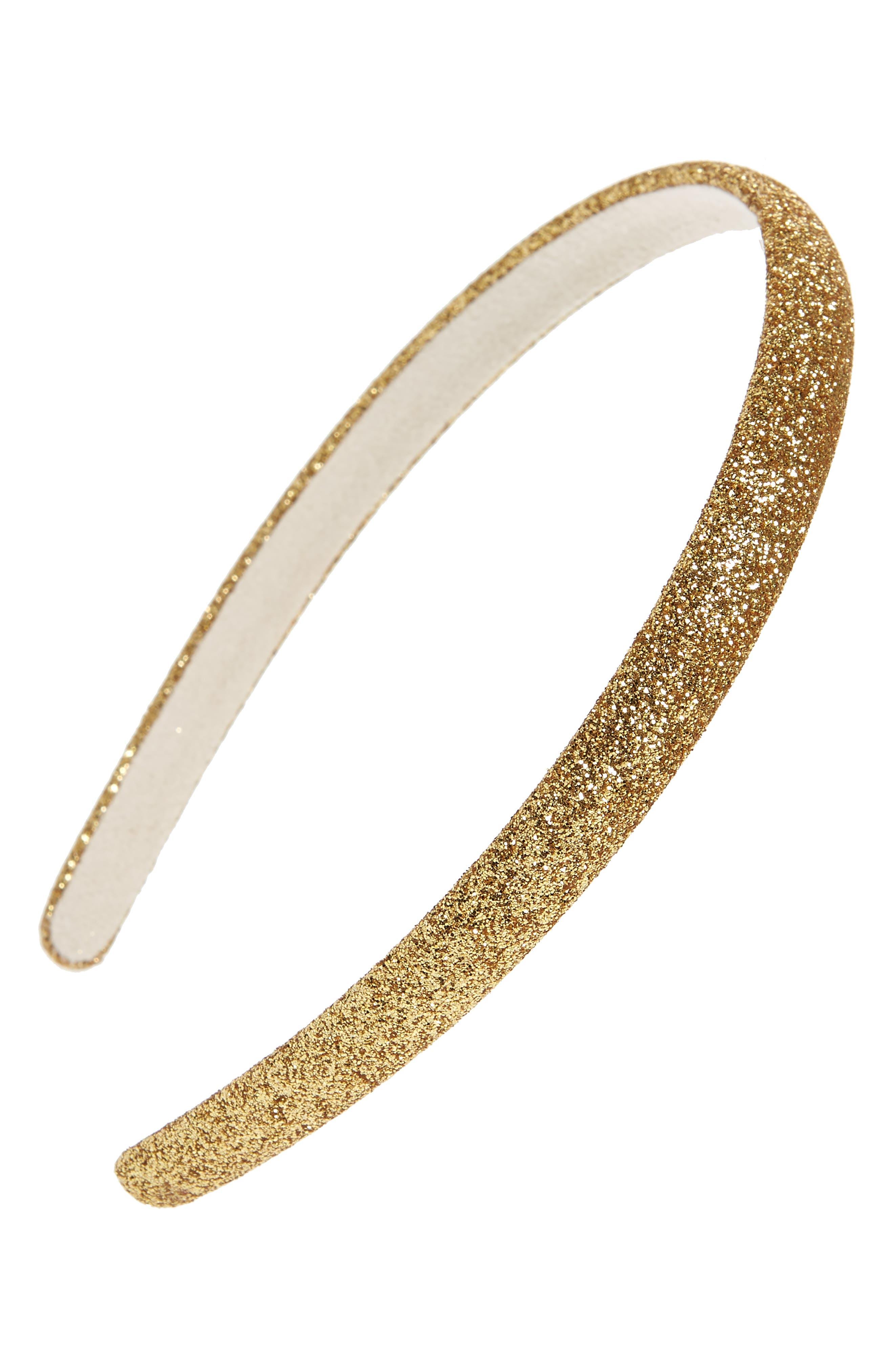 Glitter Slim Headband,                         Main,                         color, GOLD