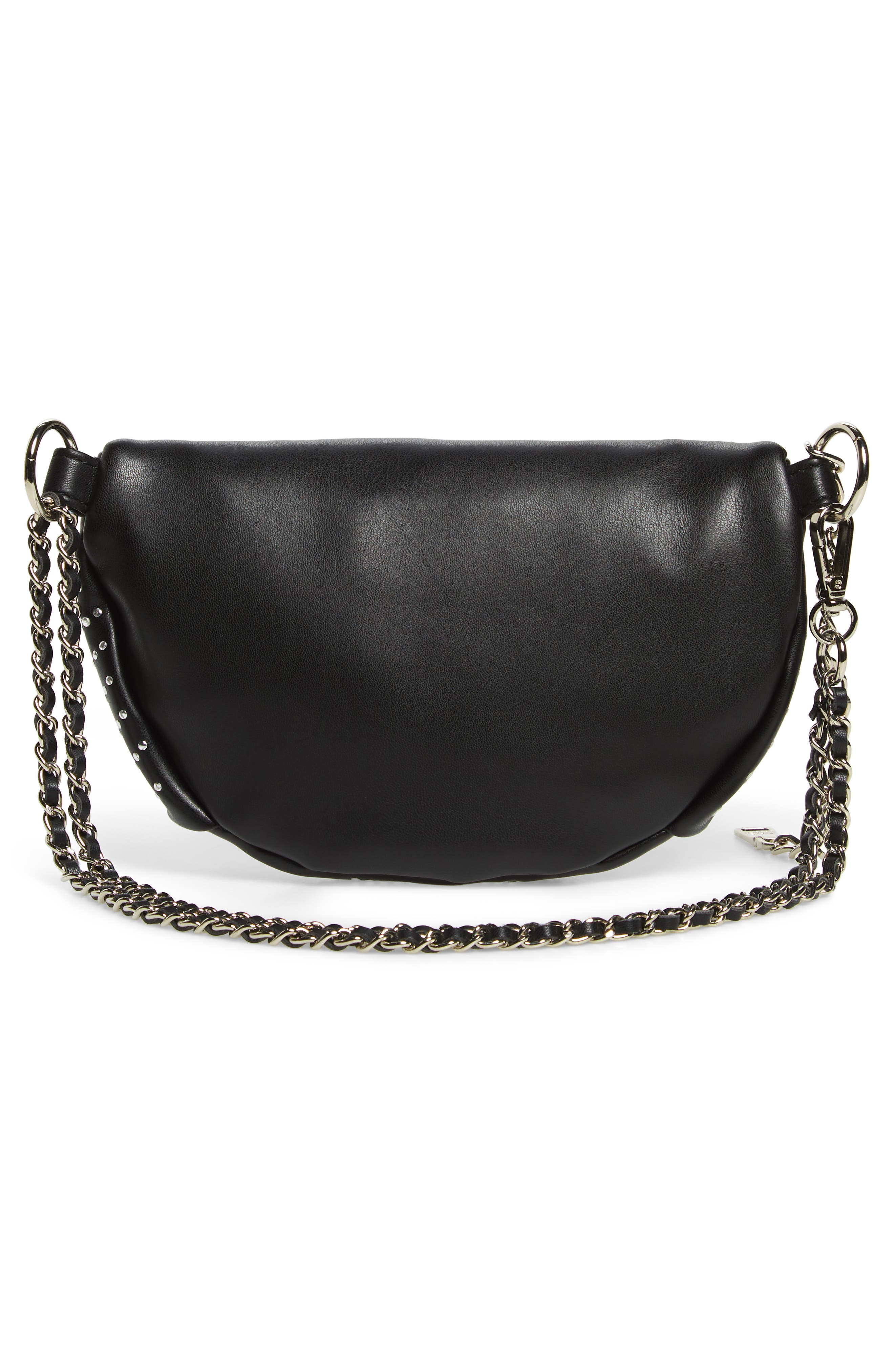 Quilted Faux Leather Fanny Pack,                             Alternate thumbnail 6, color,                             BLACK/ SILVER