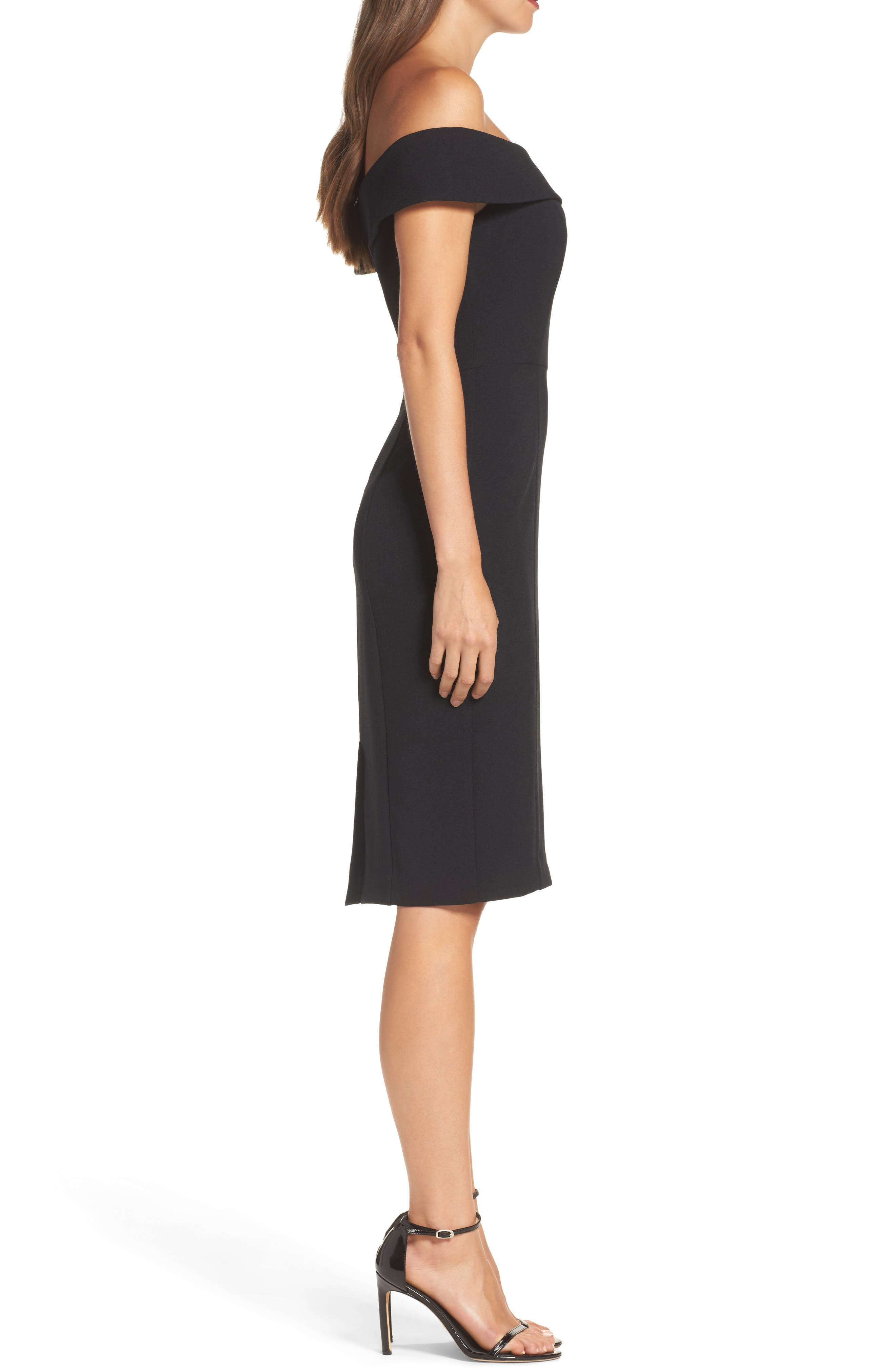 Off the Shoulder Crepe Sheath Dress,                             Alternate thumbnail 3, color,