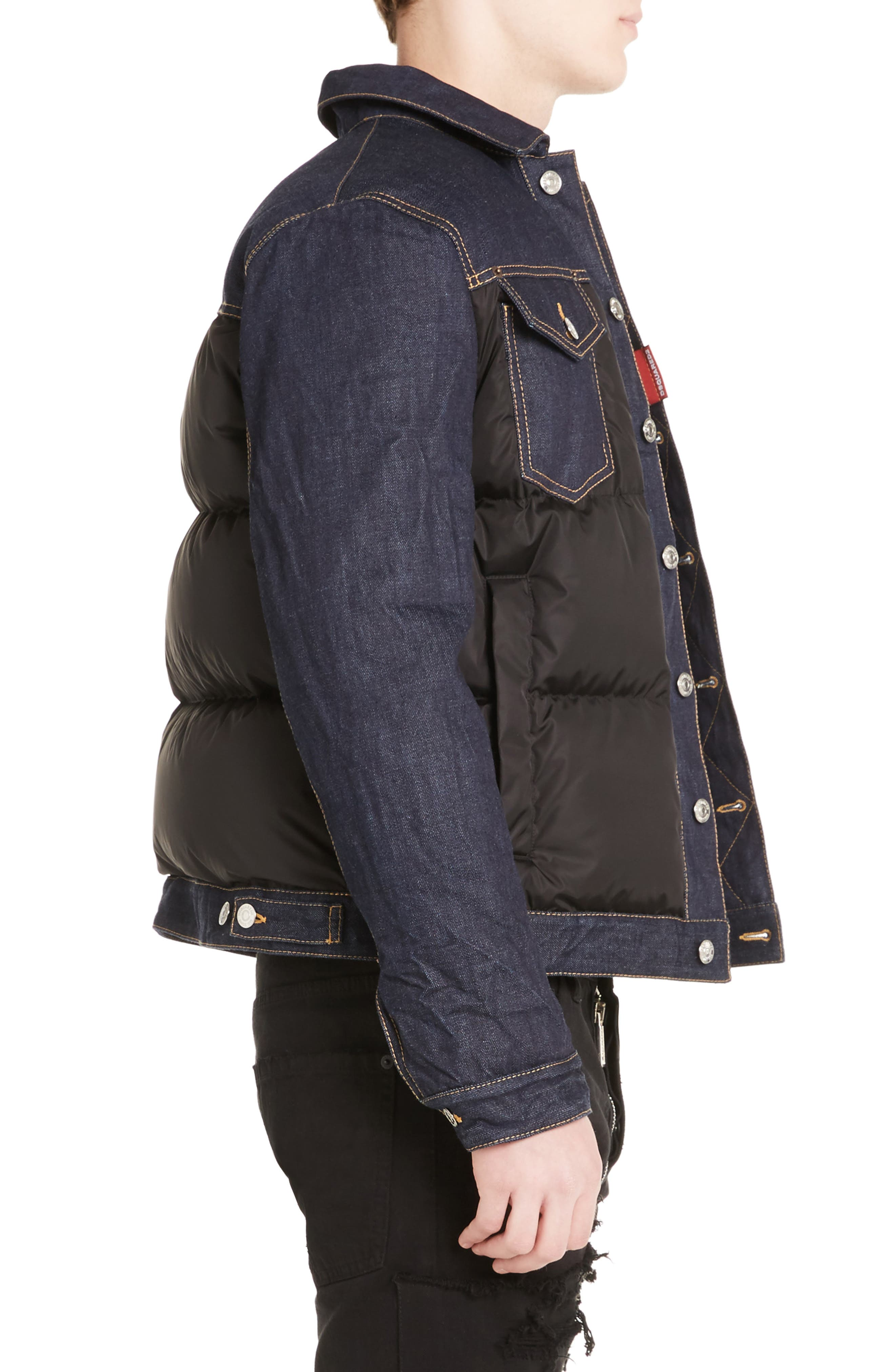 Mixed Media Quilted Denim Jacket,                             Alternate thumbnail 3, color,                             008