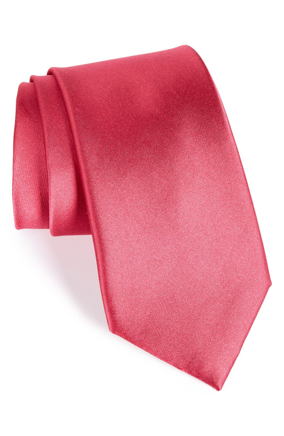 Solid Satin Silk Tie,                             Main thumbnail 11, color,