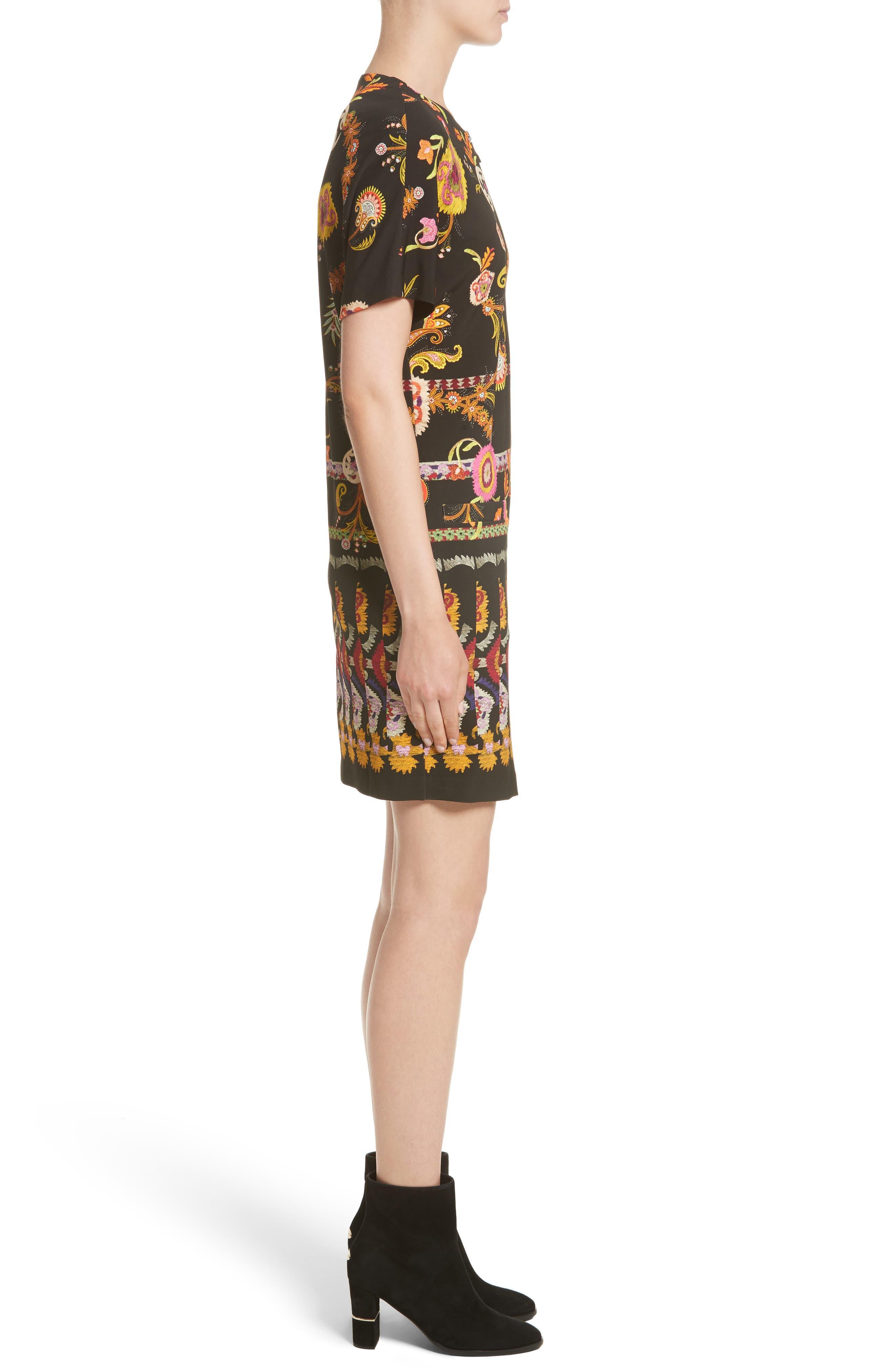 Floral & Paisley Jersey Dress,                             Alternate thumbnail 3, color,                             001