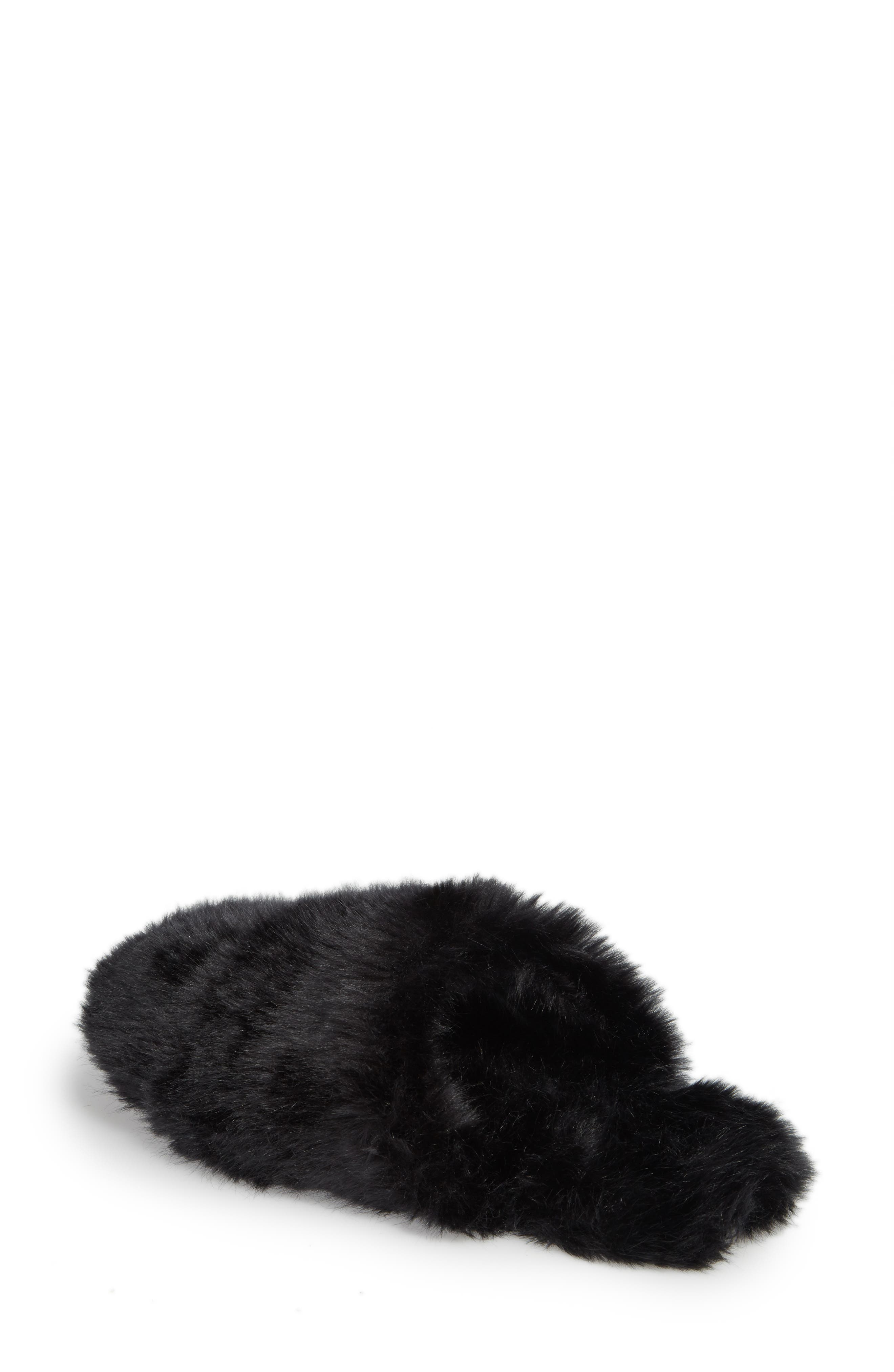 Faux Fur Slipper,                             Alternate thumbnail 2, color,                             BLACK