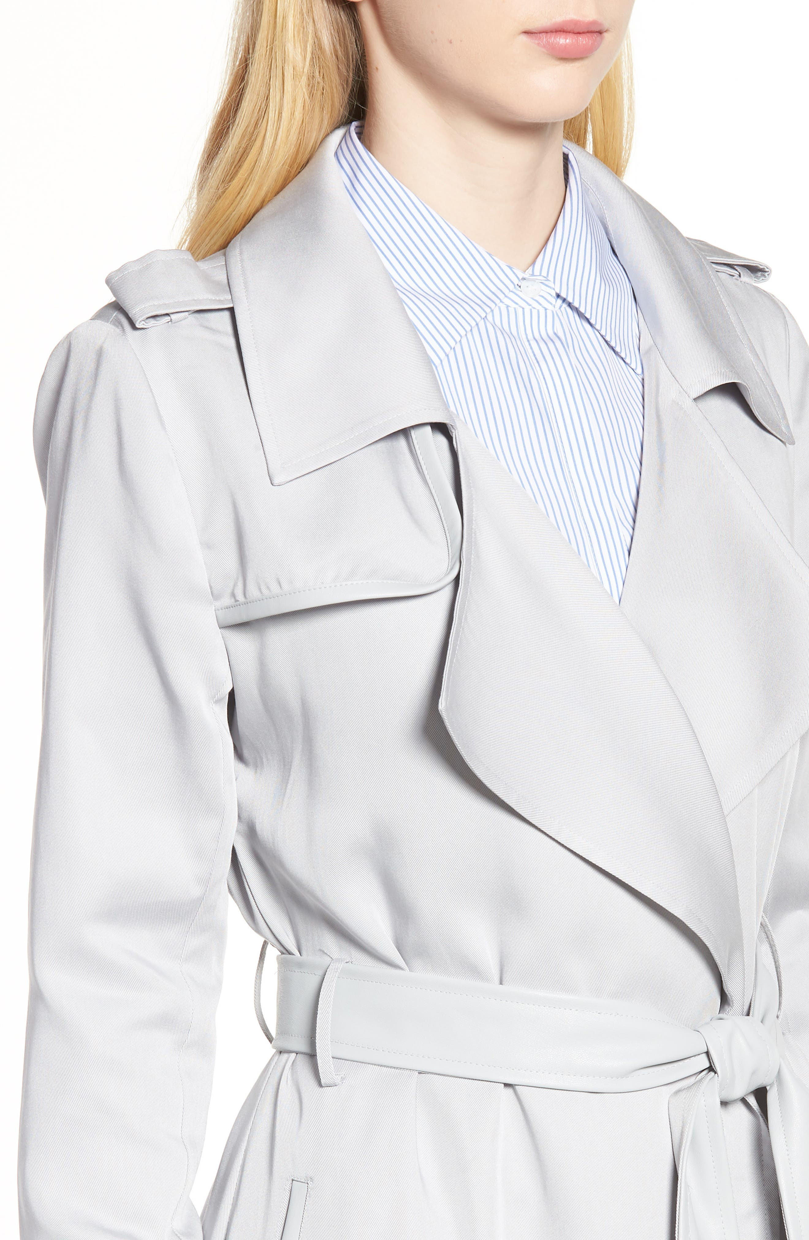 Badgley Mischka Faux Leather Trim Long Trench Coat,                             Alternate thumbnail 4, color,                             020