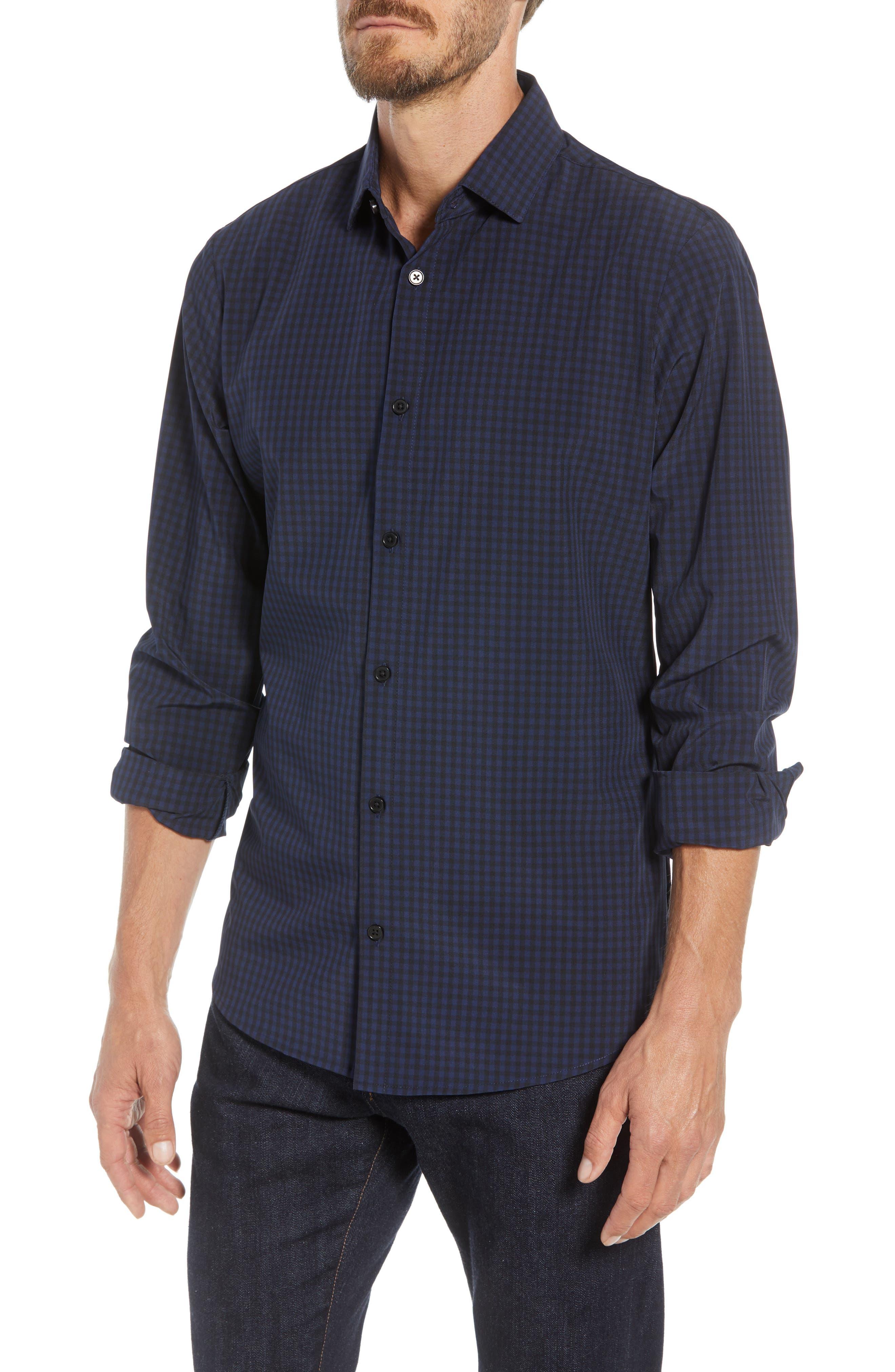 Burns Slim Fit Check Performance Sport Shirt,                         Main,                         color, BLACK
